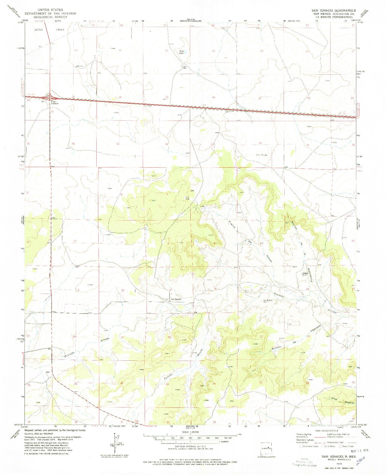 USGS 1:24000-SCALE QUADRANGLE FOR SAN IGNACIO, NM 1978