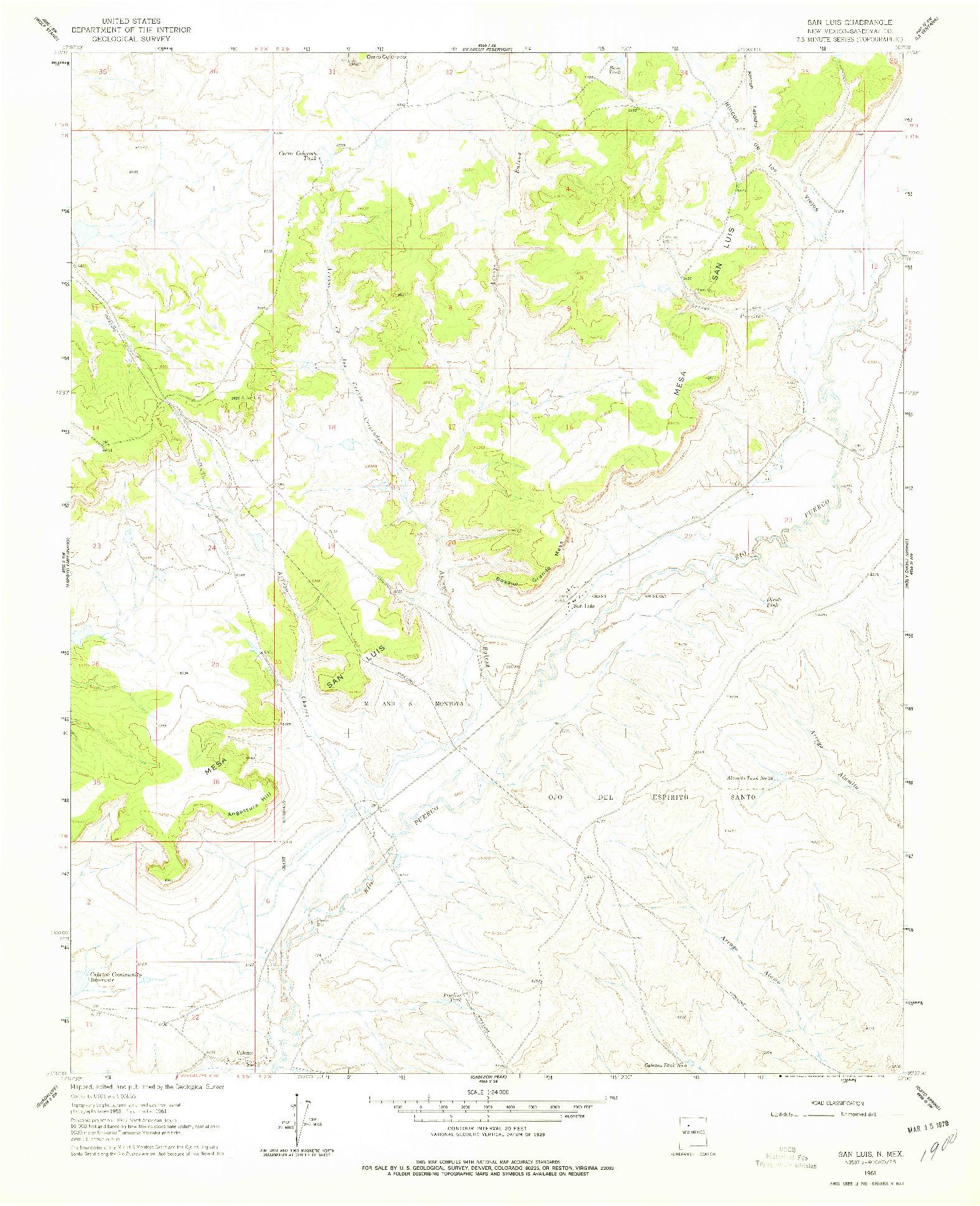 USGS 1:24000-SCALE QUADRANGLE FOR SAN LUIS, NM 1961