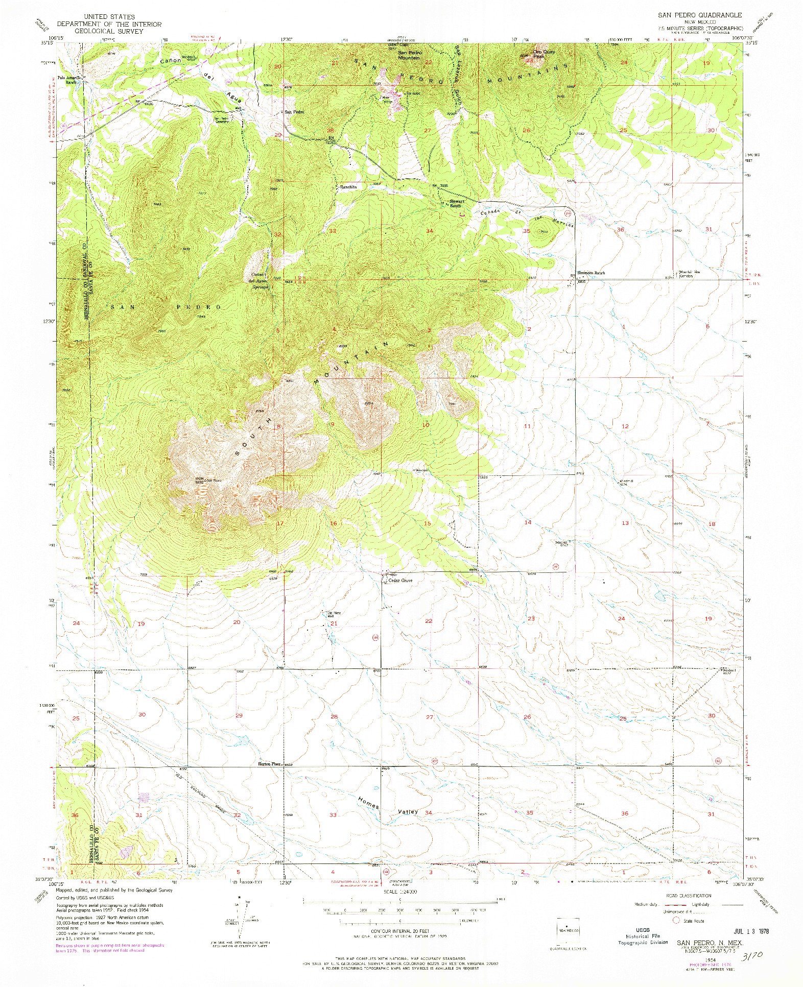 USGS 1:24000-SCALE QUADRANGLE FOR SAN PEDRO, NM 1954