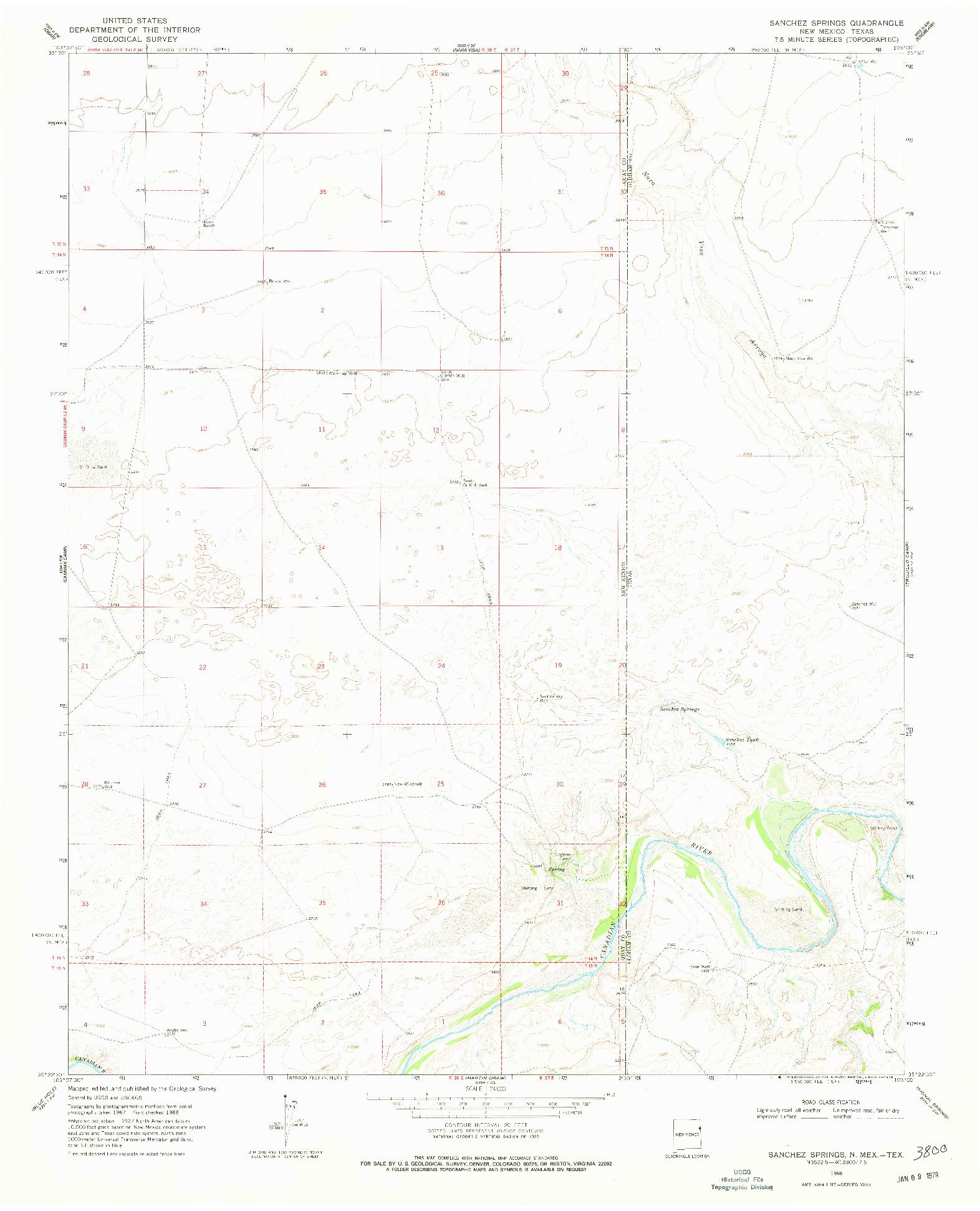 USGS 1:24000-SCALE QUADRANGLE FOR SANCHEZ SPRINGS, NM 1968