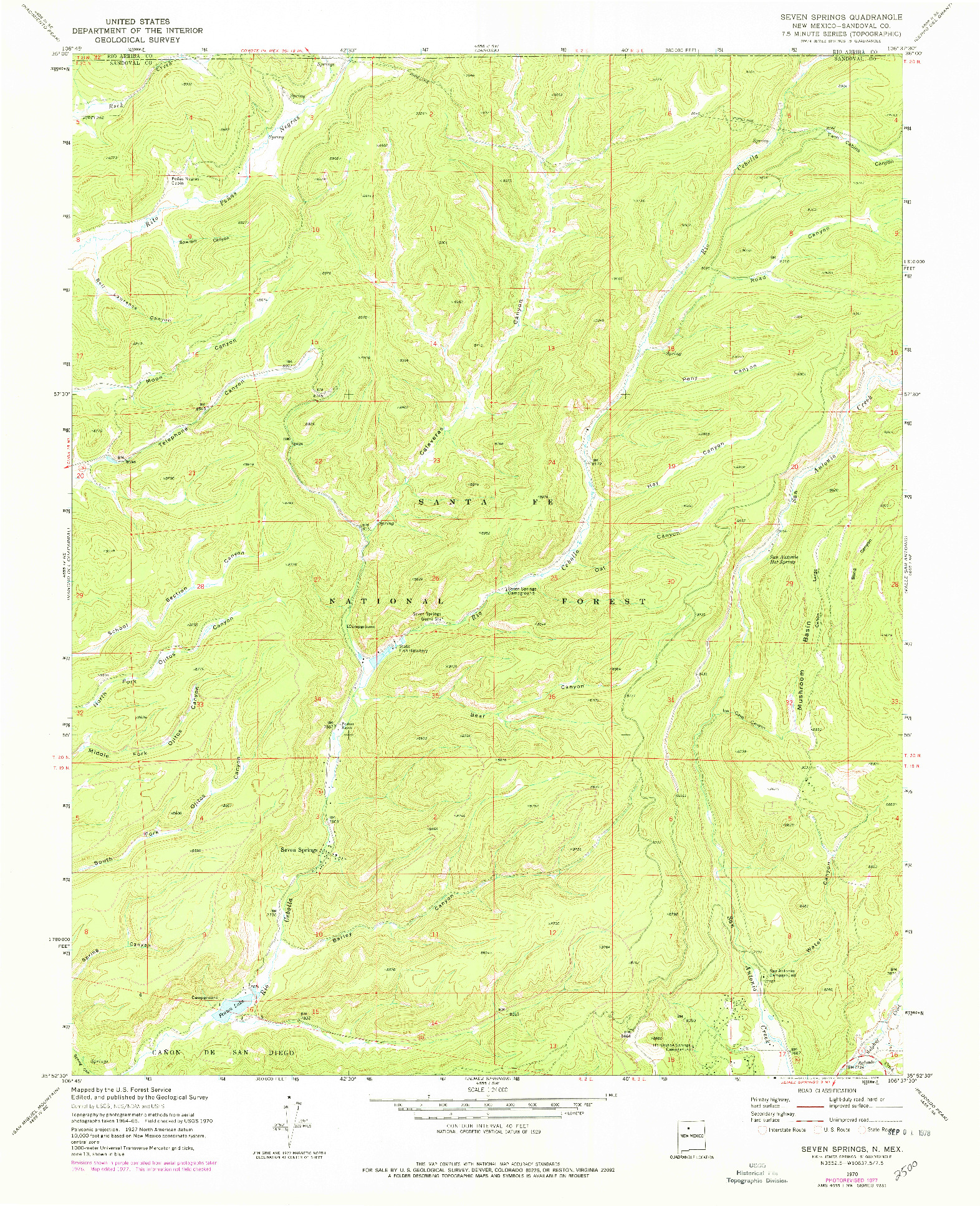 USGS 1:24000-SCALE QUADRANGLE FOR SEVEN SPRINGS, NM 1970