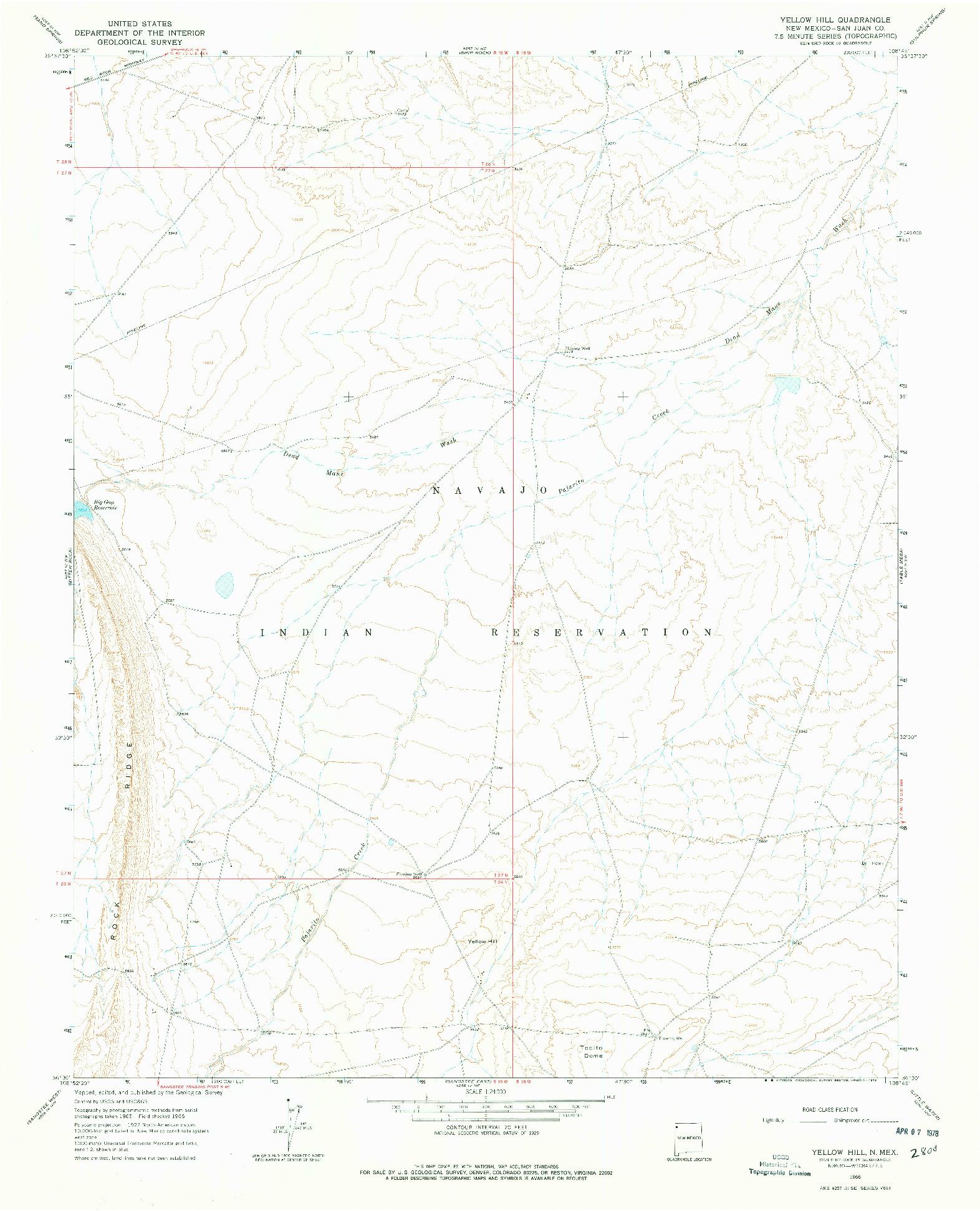 USGS 1:24000-SCALE QUADRANGLE FOR YELLOW HILL, NM 1966