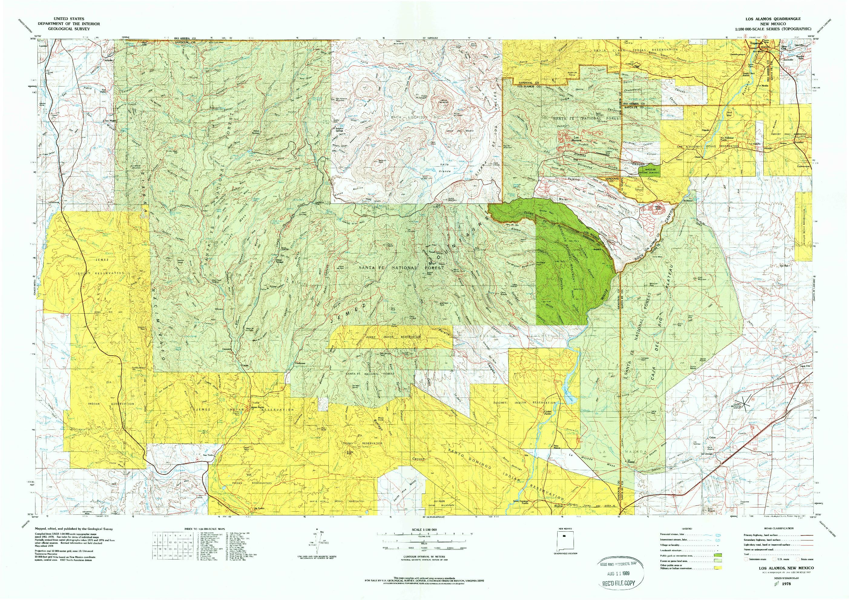 USGS 1:100000-SCALE QUADRANGLE FOR LOS ALAMOS, NM 1978