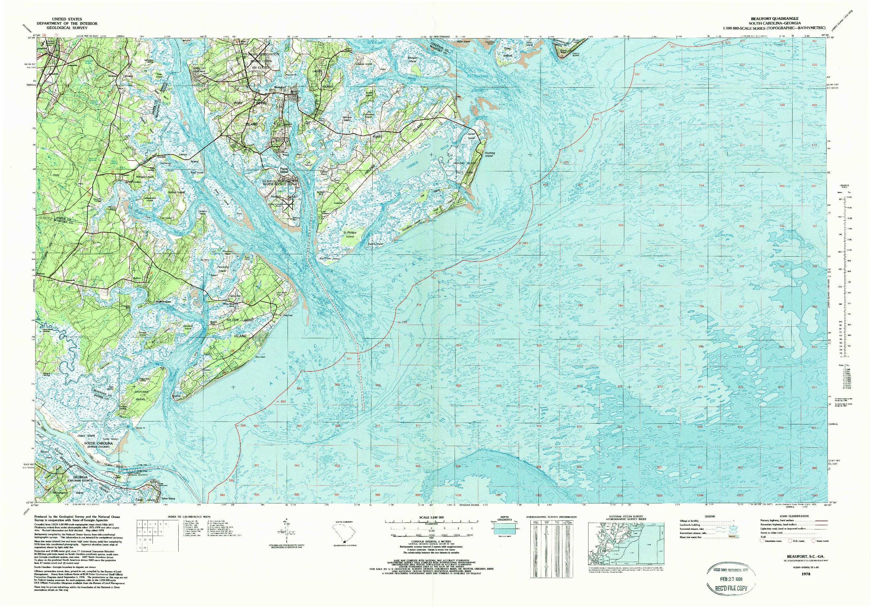USGS 1:100000-SCALE QUADRANGLE FOR BEAUFORT, SC 1978