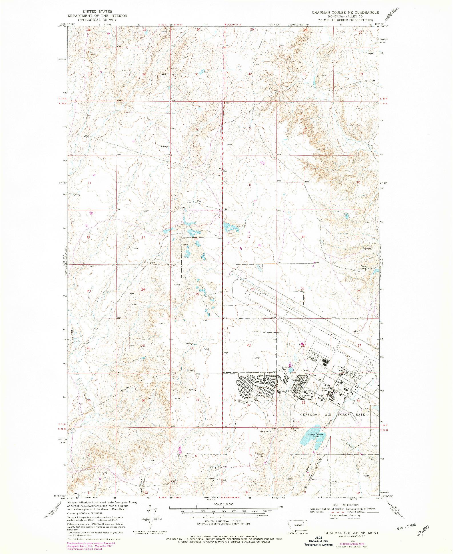 USGS 1:24000-SCALE QUADRANGLE FOR CHAPMAN COULEE NE, MT 1969