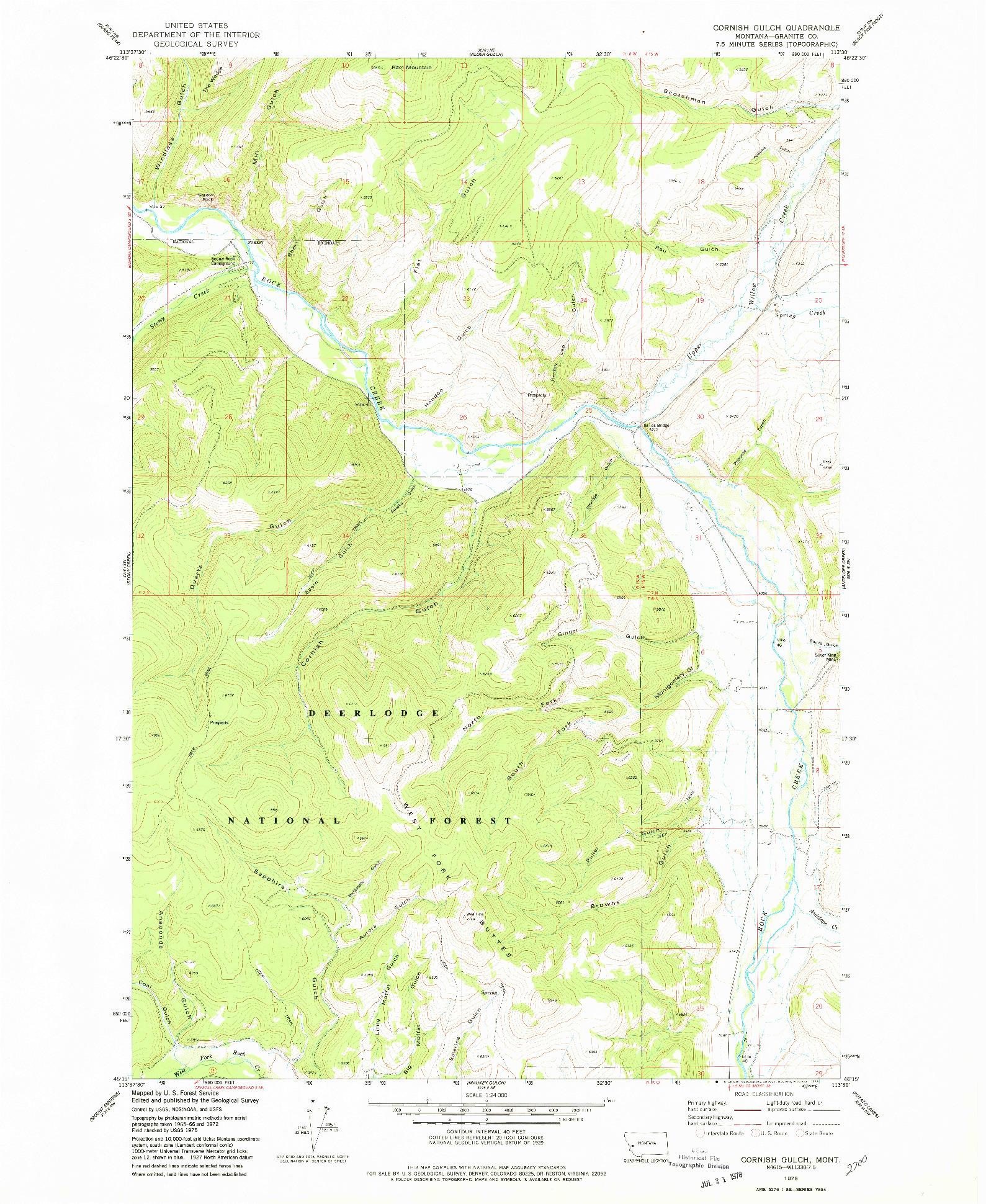 USGS 1:24000-SCALE QUADRANGLE FOR CORNISH GULCH, MT 1975