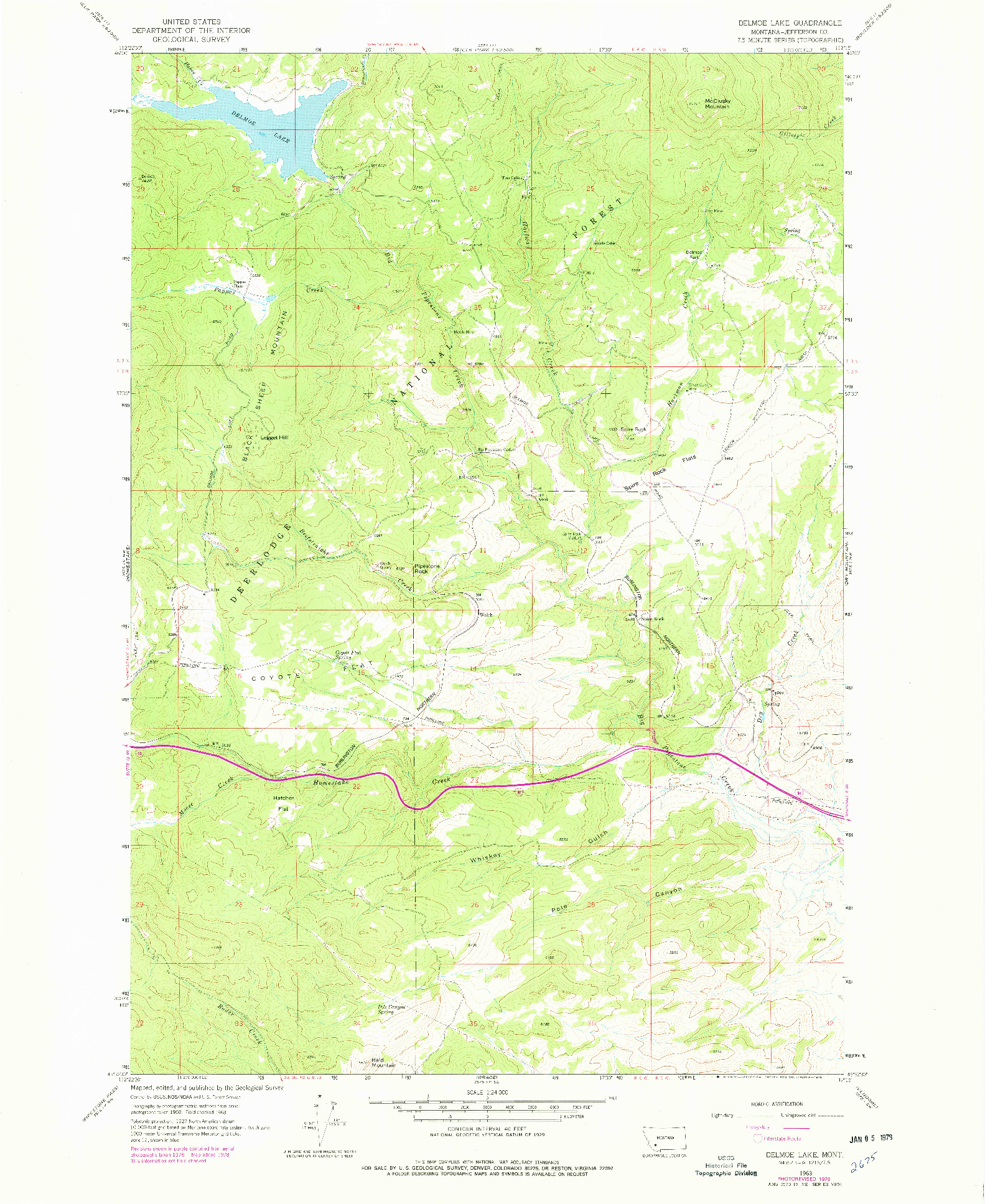 USGS 1:24000-SCALE QUADRANGLE FOR DELMOE LAKE, MT 1963
