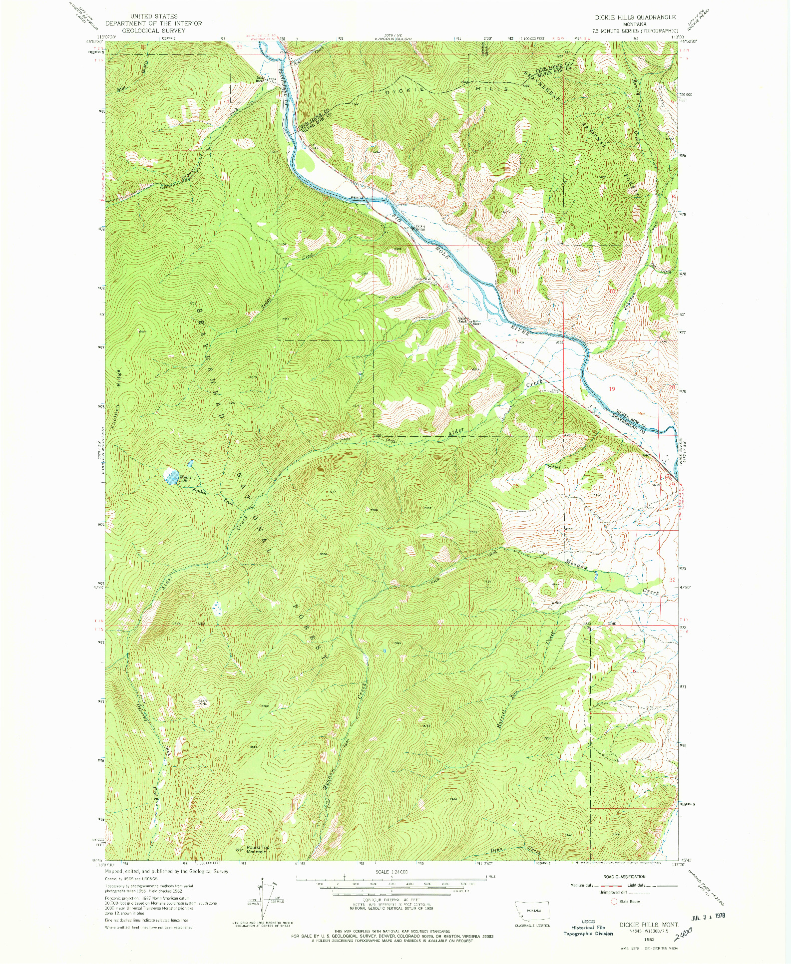 USGS 1:24000-SCALE QUADRANGLE FOR DICKIE HILLS, MT 1962