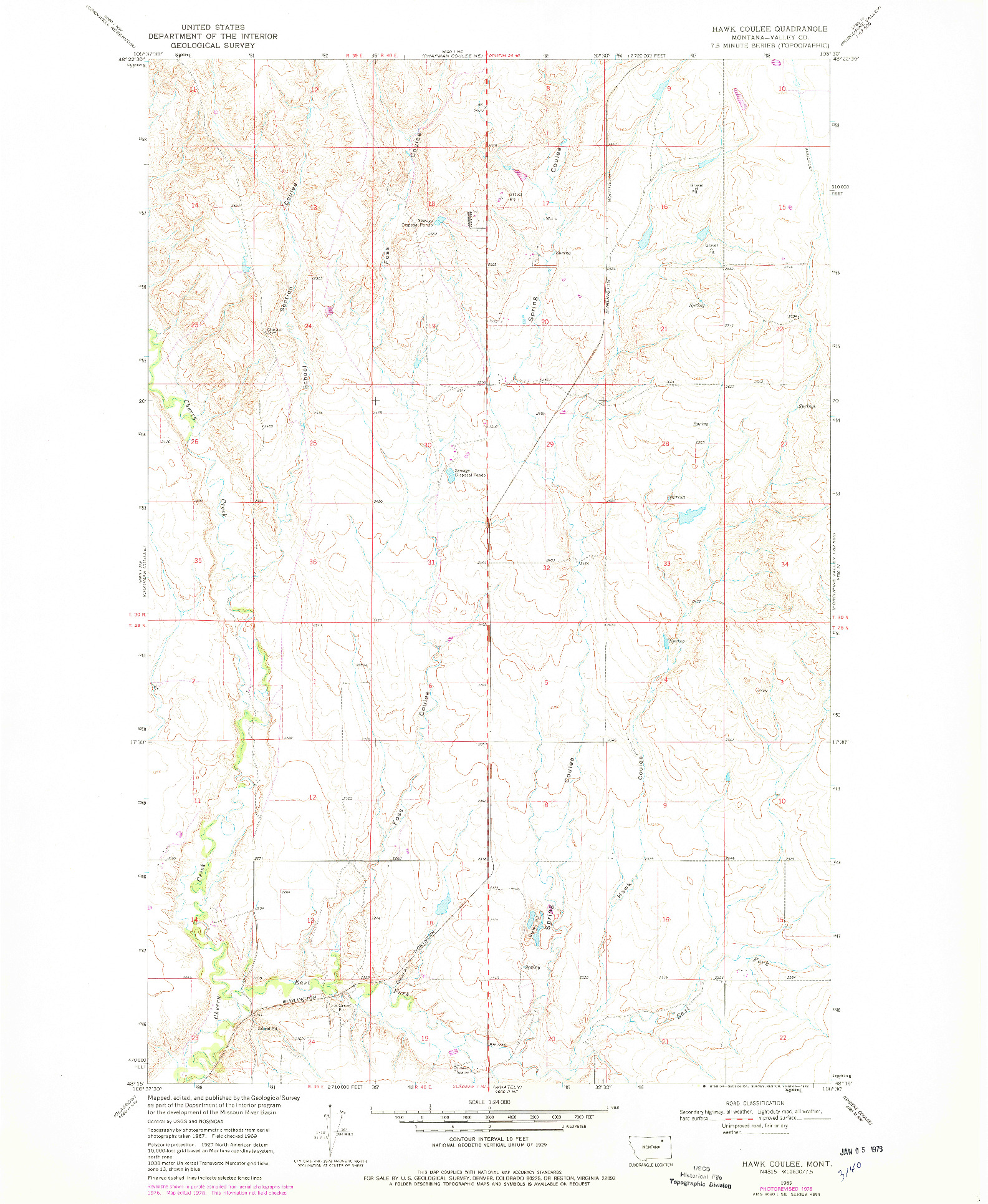 USGS 1:24000-SCALE QUADRANGLE FOR HAWK COULEE, MT 1969