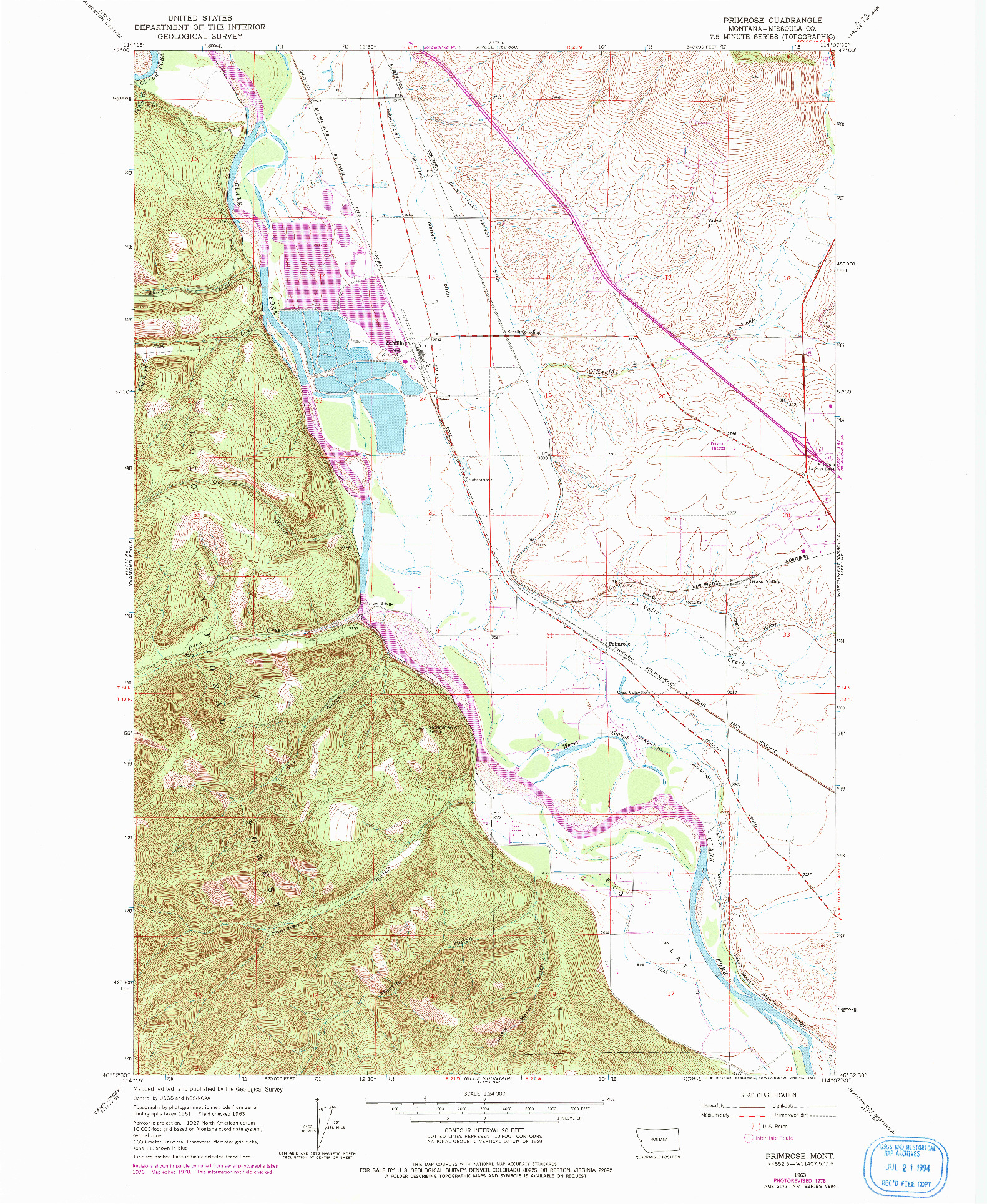 USGS 1:24000-SCALE QUADRANGLE FOR PRIMROSE, MT 1963