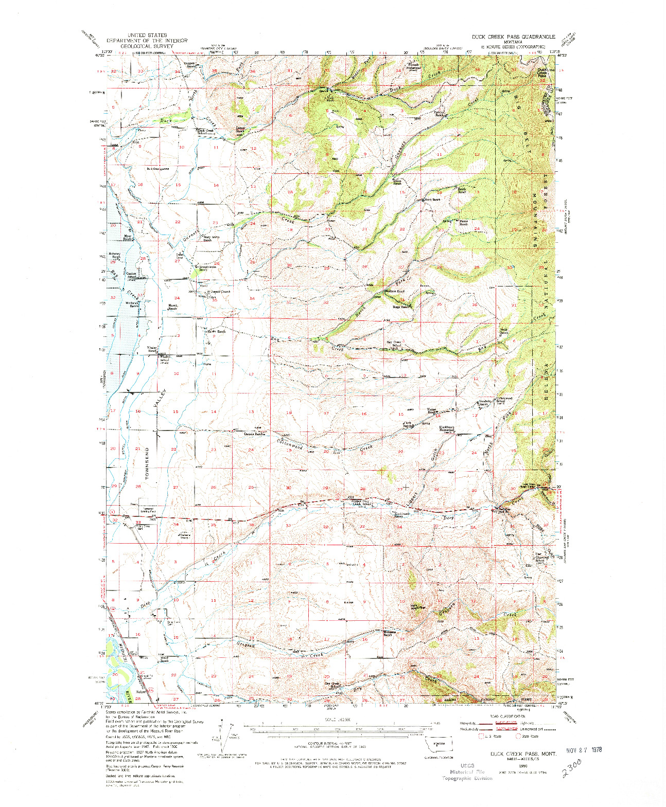USGS 1:62500-SCALE QUADRANGLE FOR DUCK CREEK PASS, MT 1950