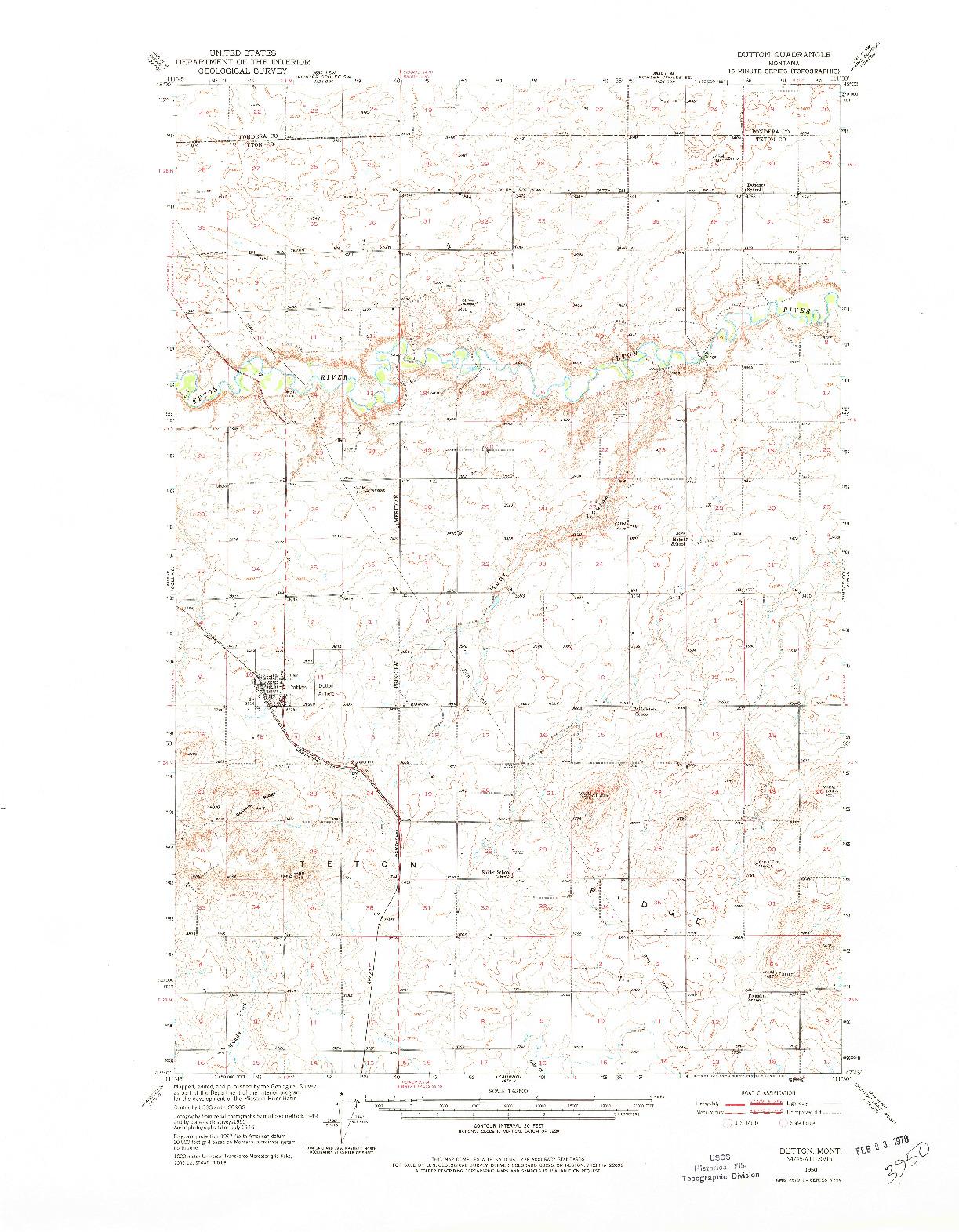 USGS 1:62500-SCALE QUADRANGLE FOR DUTTON, MT 1950