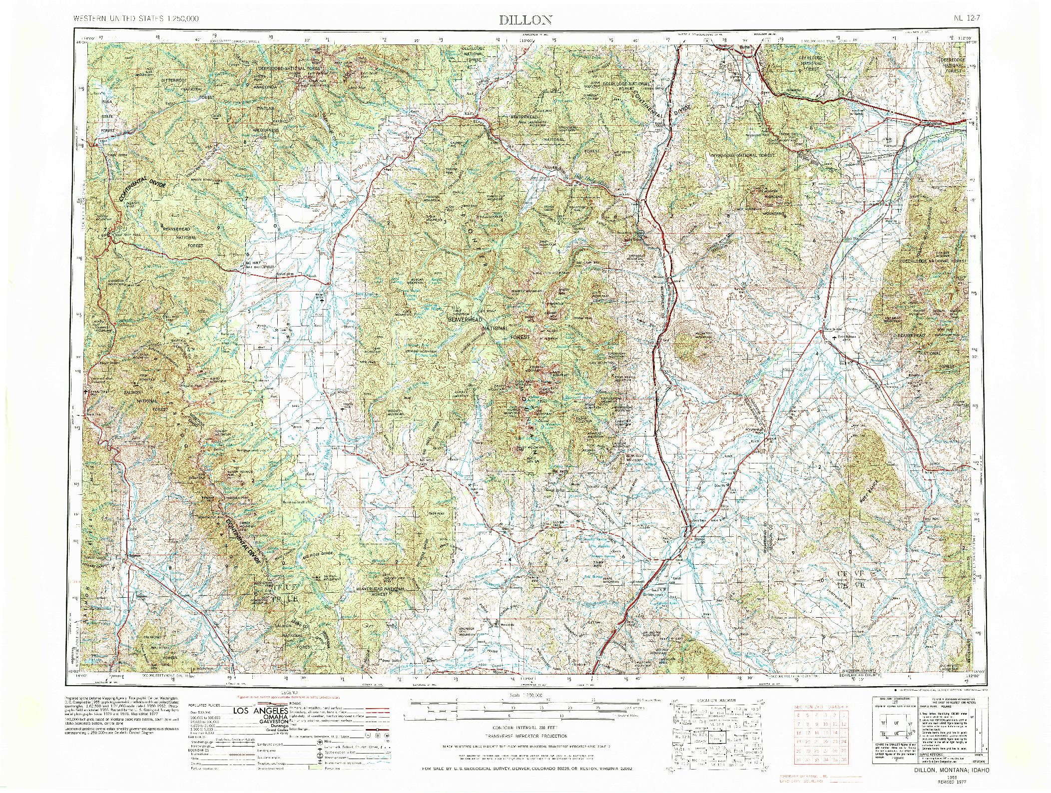 USGS 1:250000-SCALE QUADRANGLE FOR DILLON, MT 1955