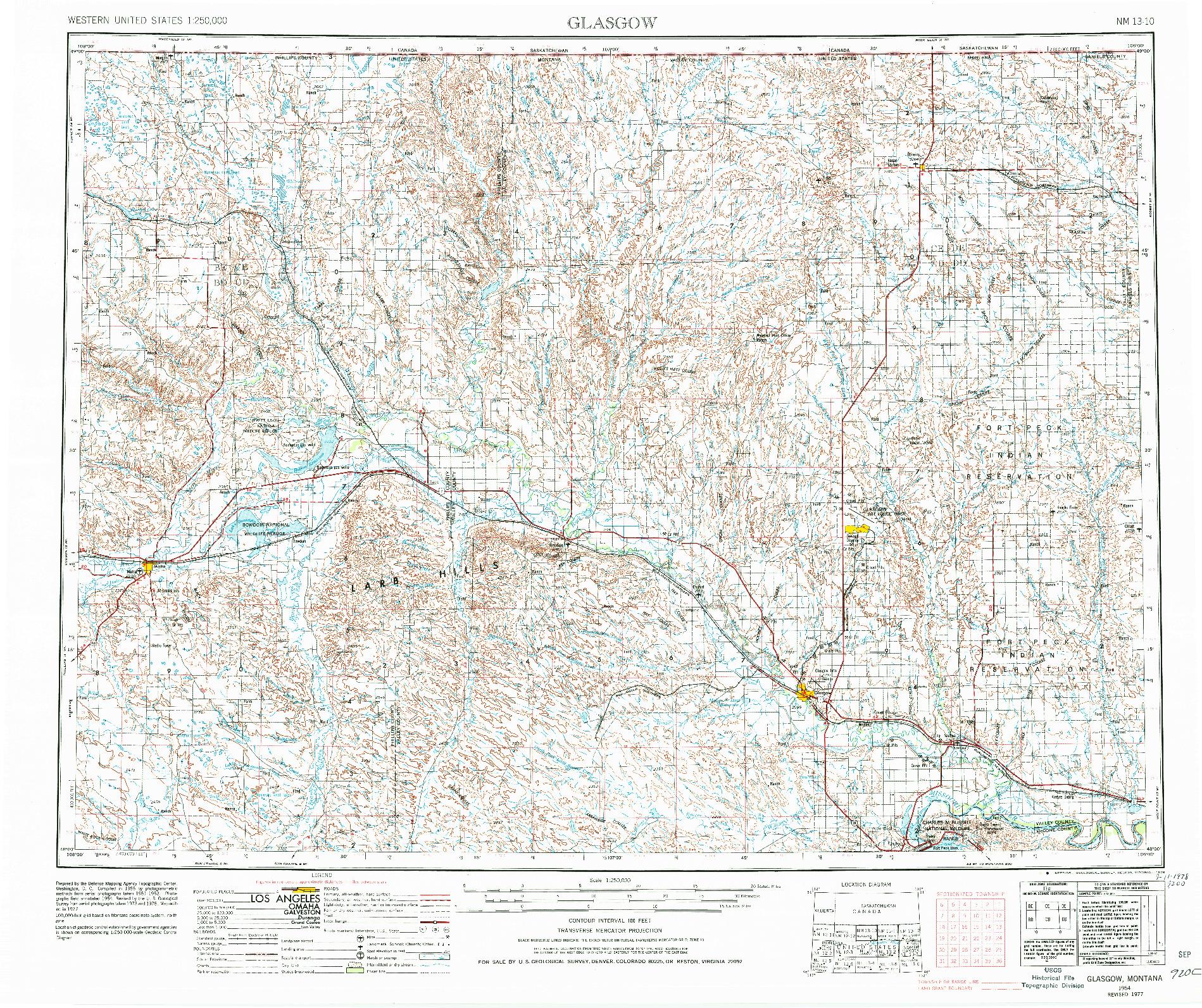 USGS 1:250000-SCALE QUADRANGLE FOR GLASGOW, MT 1954