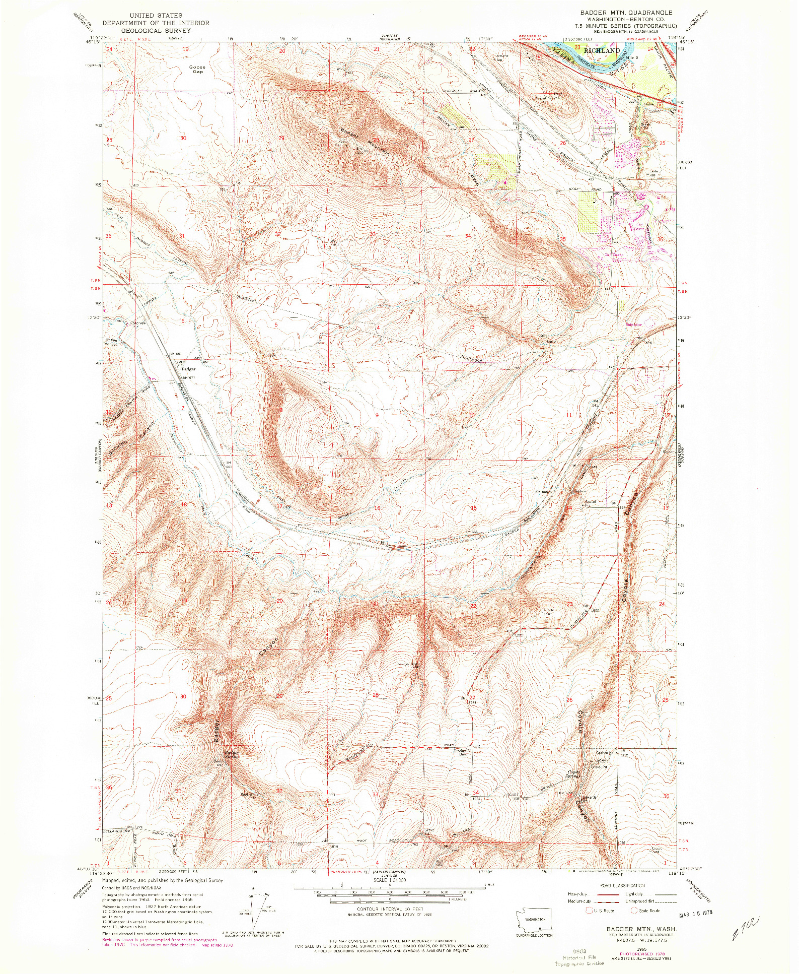 USGS 1:24000-SCALE QUADRANGLE FOR BADGER MTN, WA 1965