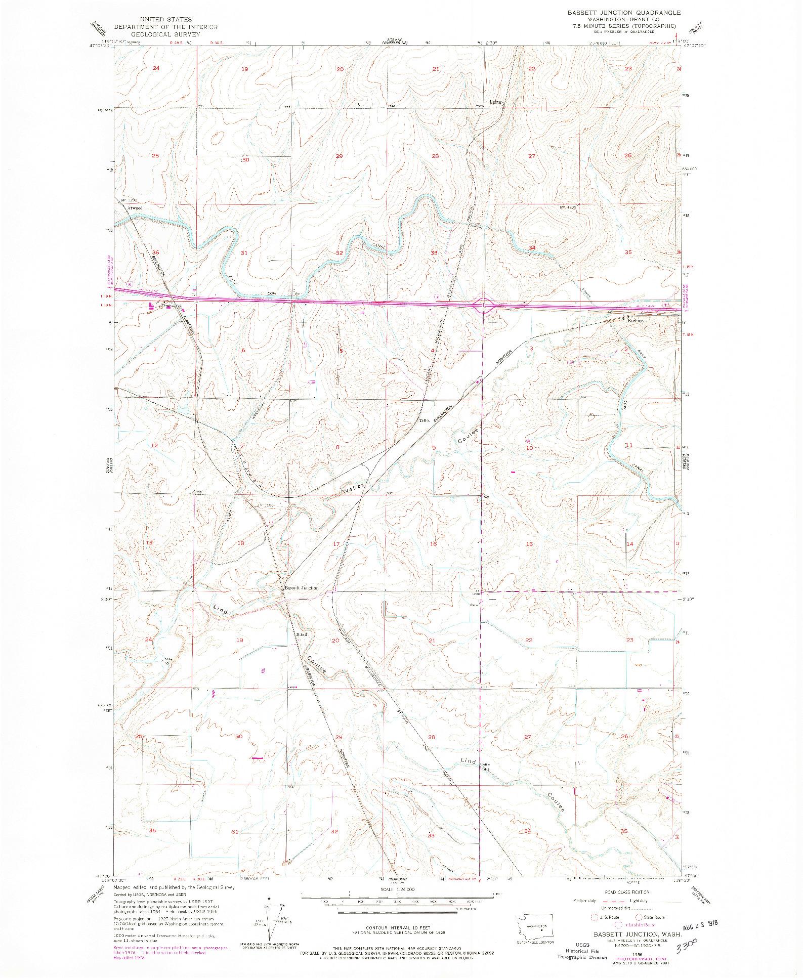 USGS 1:24000-SCALE QUADRANGLE FOR BASSETT JUNCTION, WA 1956