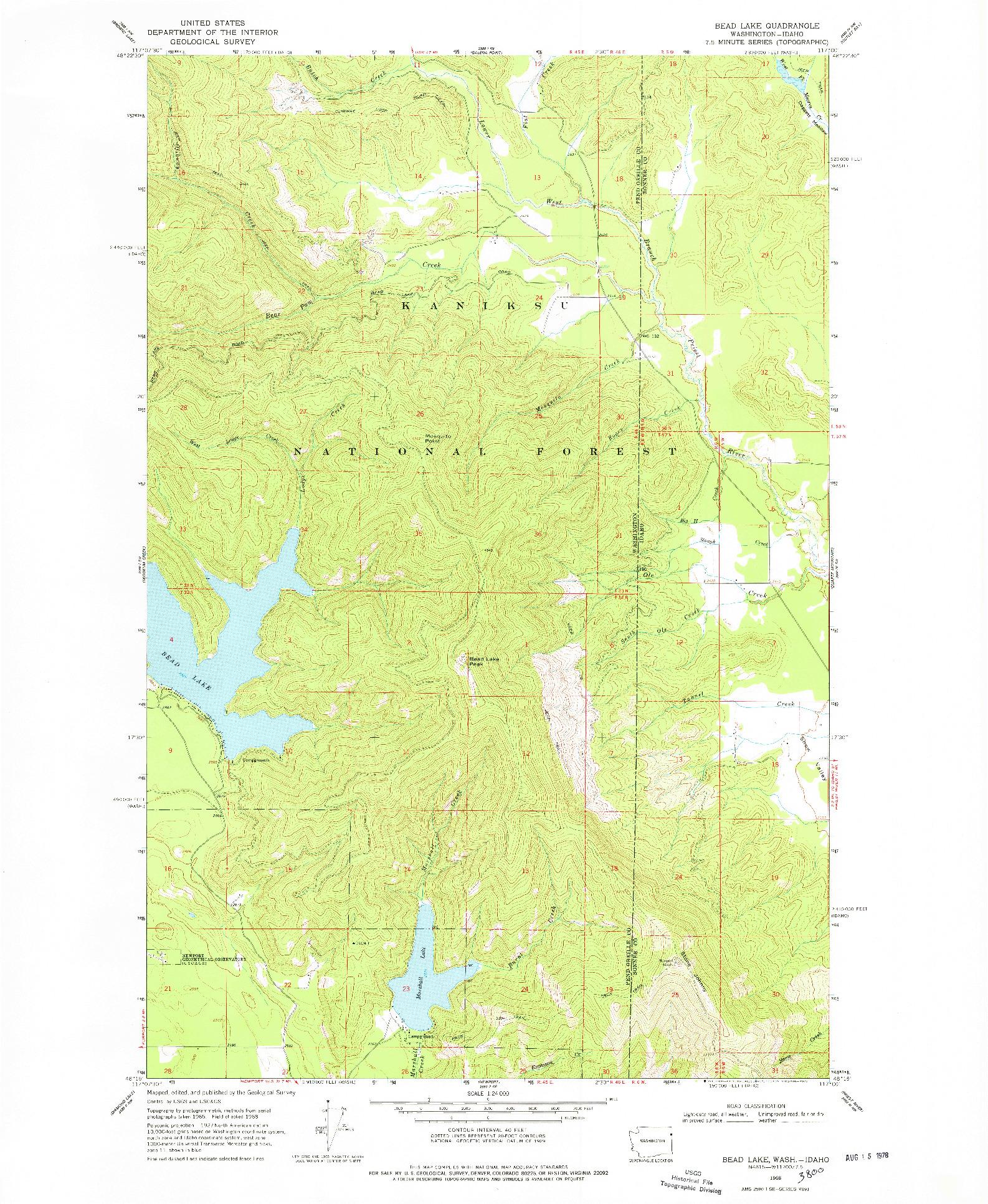 USGS 1:24000-SCALE QUADRANGLE FOR BEAD LAKE, WA 1968