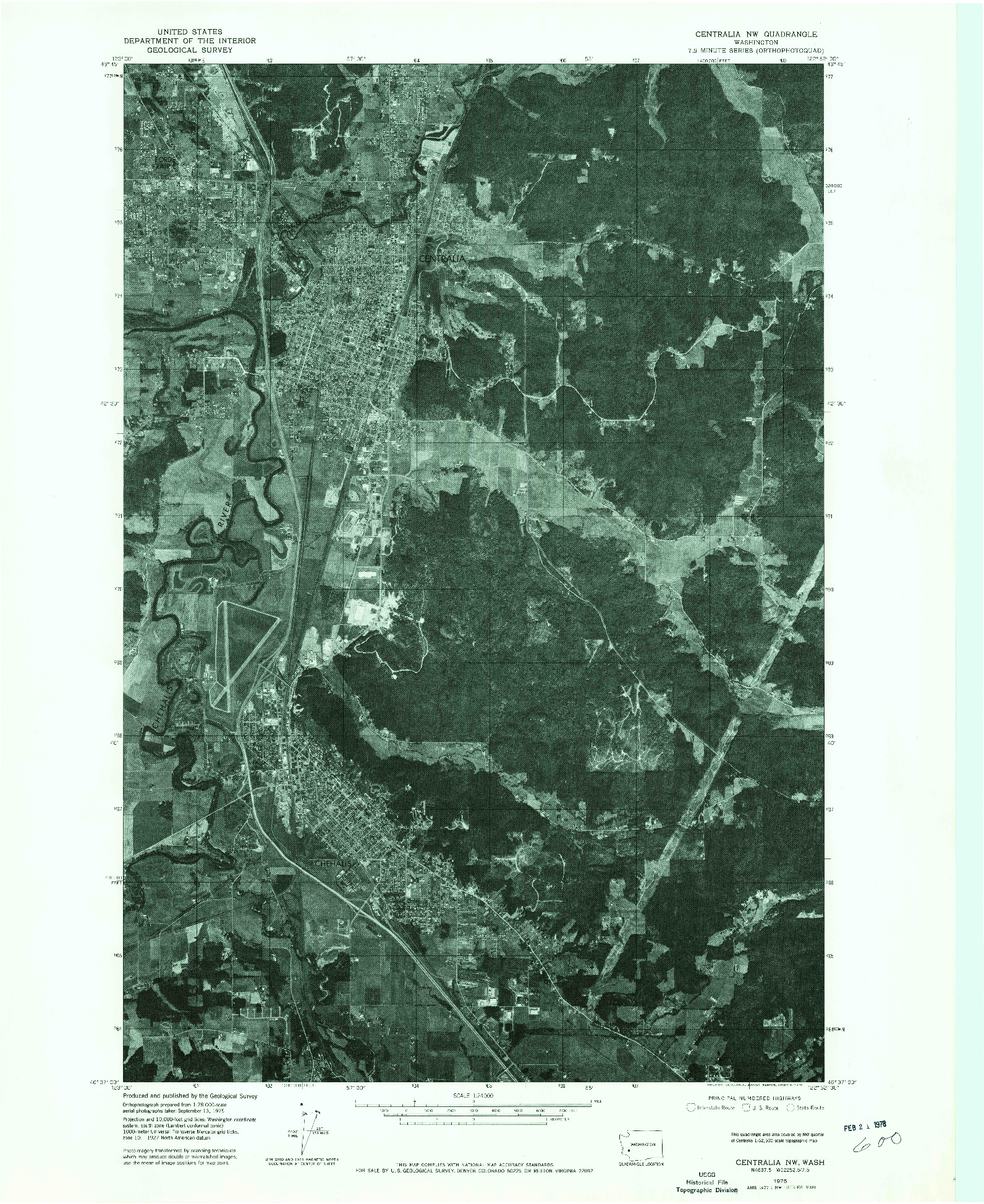 USGS 1:24000-SCALE QUADRANGLE FOR CENTRALIA NW, WA 1975