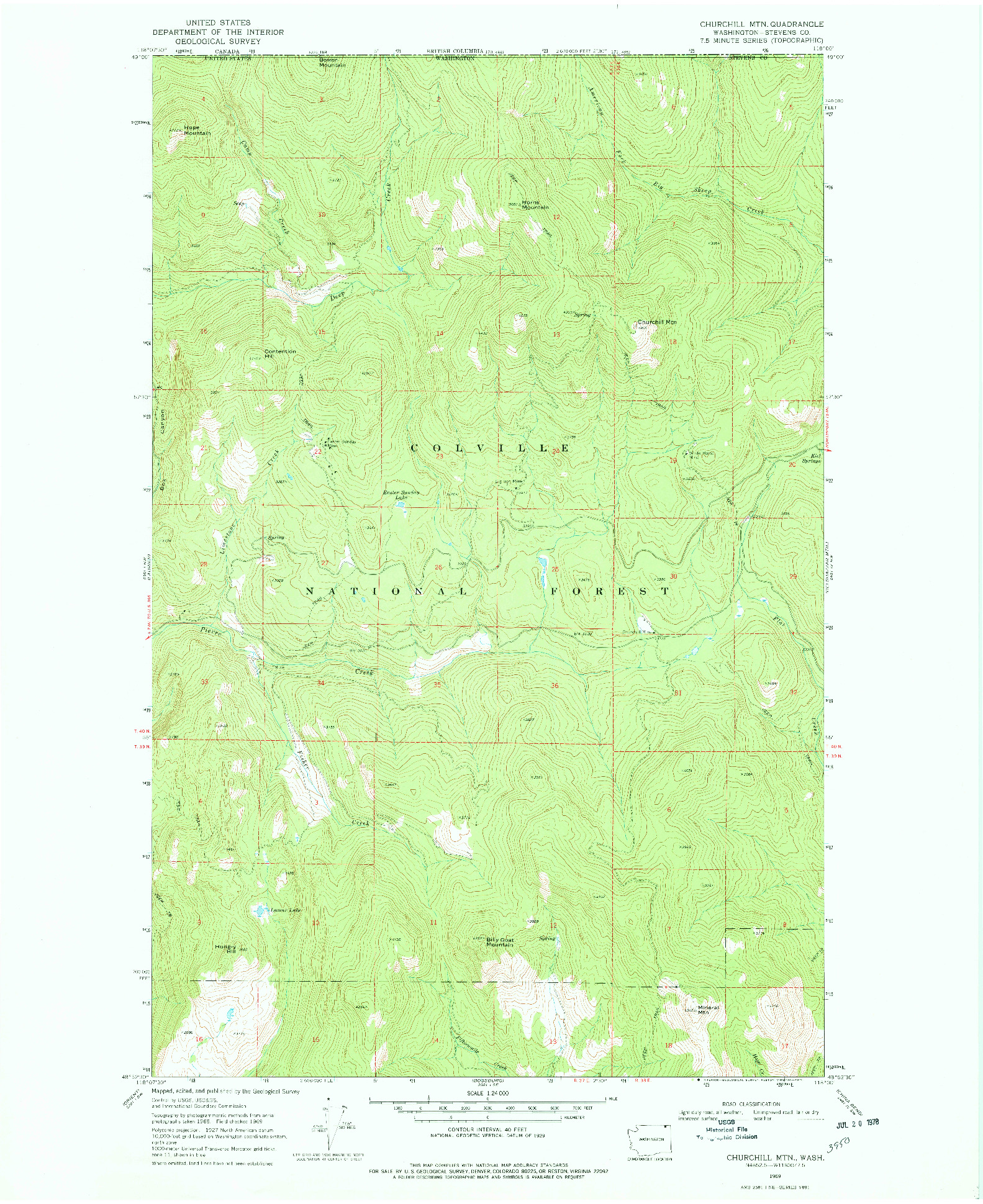 USGS 1:24000-SCALE QUADRANGLE FOR CHURCHILL MTN, WA 1969