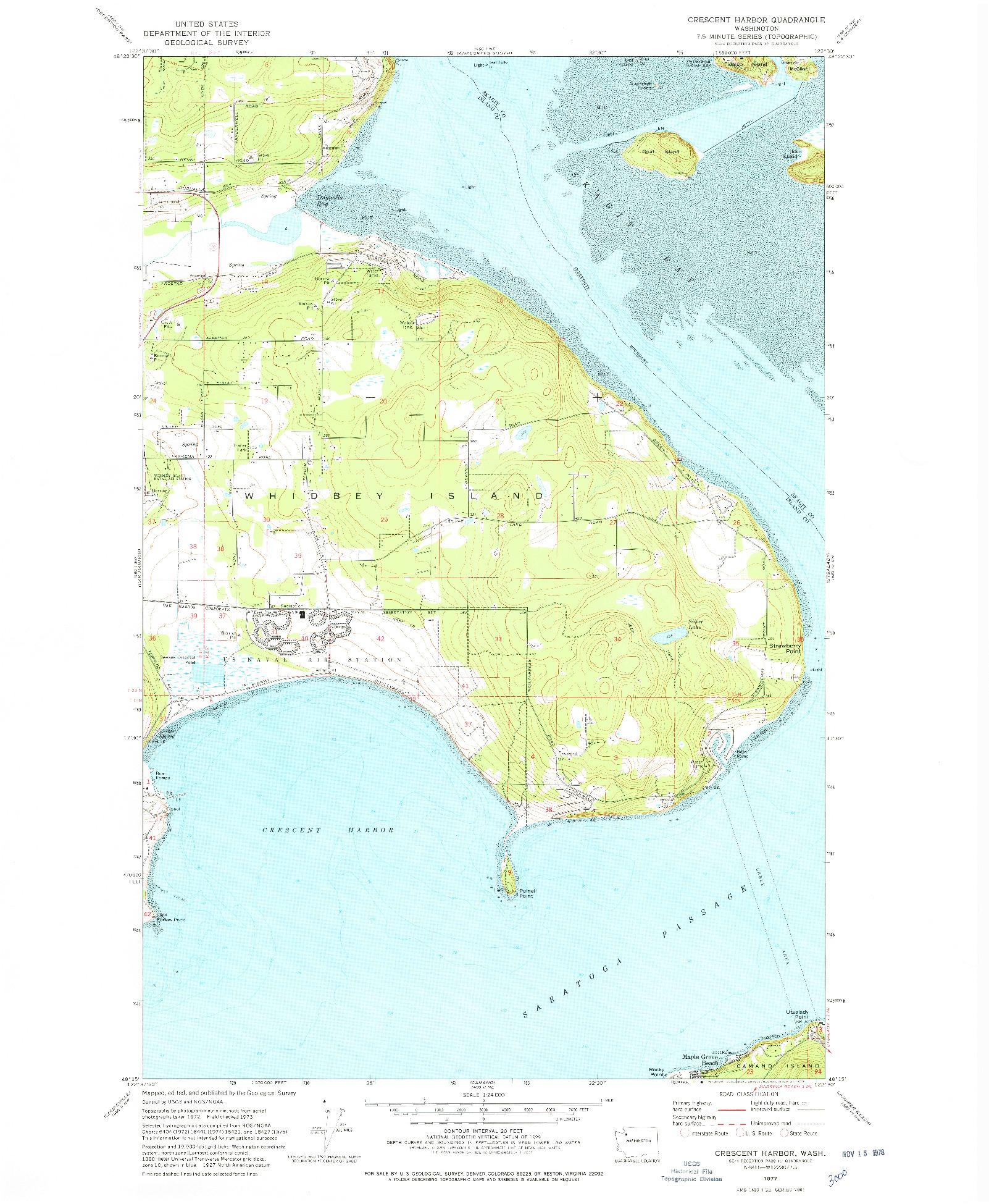 USGS 1:24000-SCALE QUADRANGLE FOR CRESCENT HARBOR, WA 1977