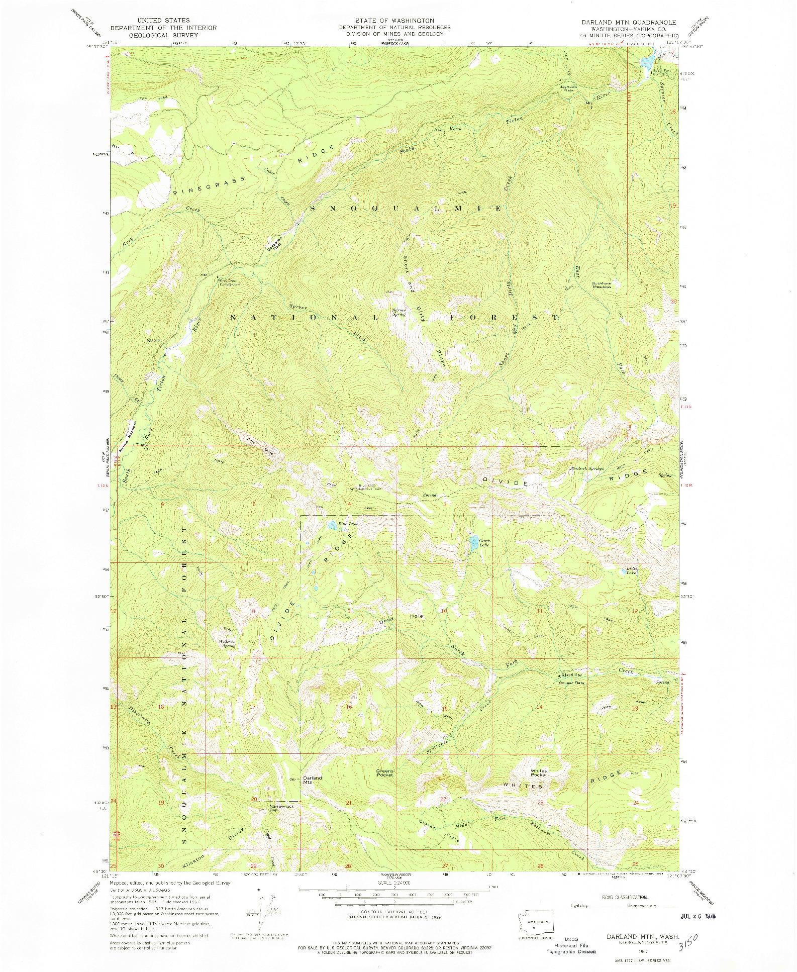 USGS 1:24000-SCALE QUADRANGLE FOR DARLAND MTN, WA 1967
