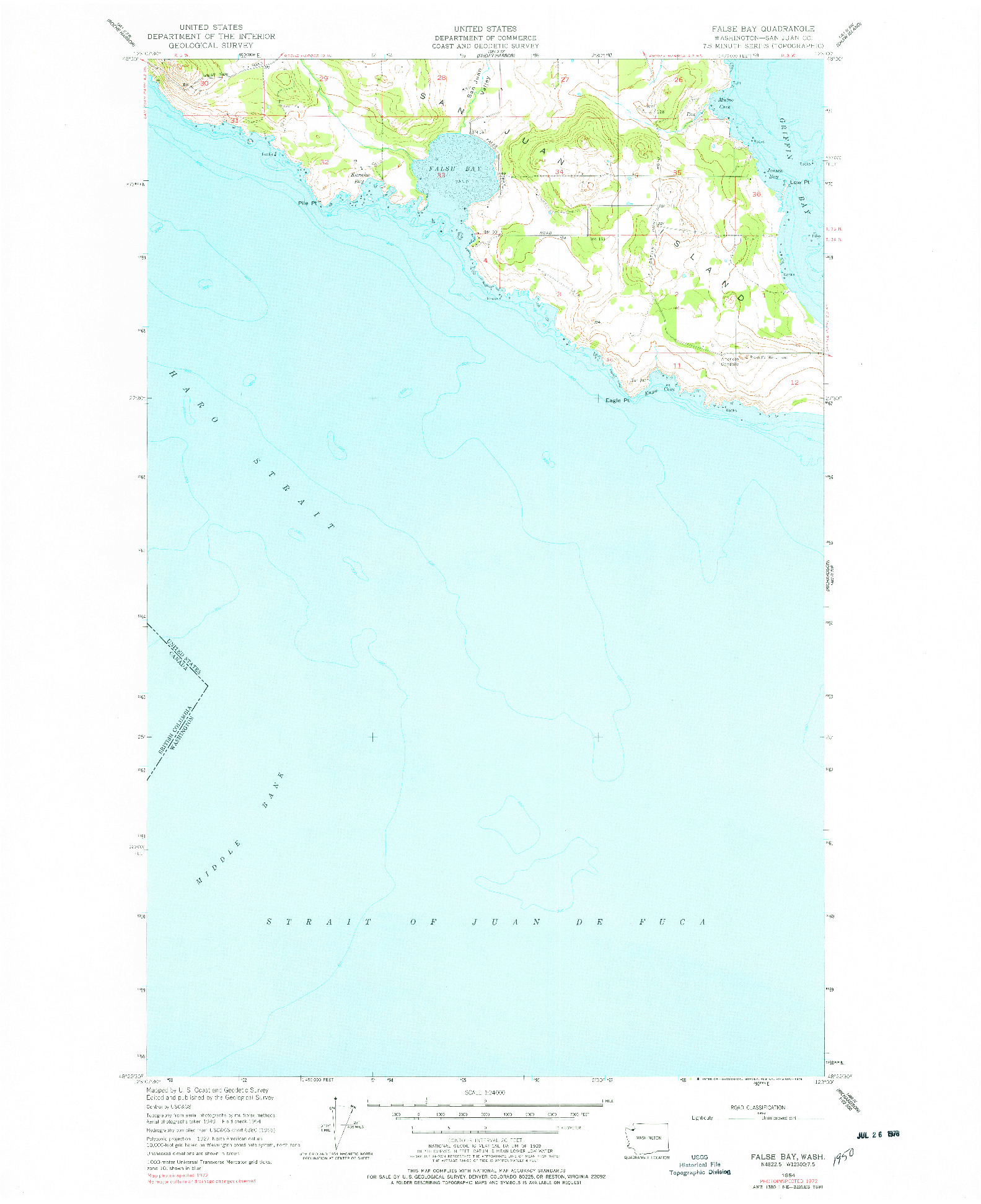 USGS 1:24000-SCALE QUADRANGLE FOR FALSE BAY, WA 1954