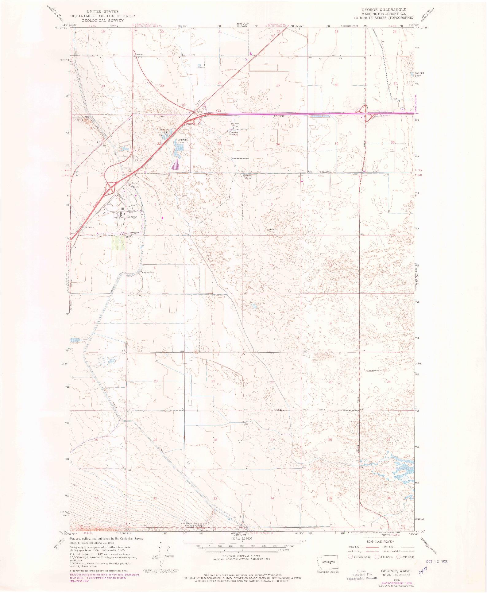USGS 1:24000-SCALE QUADRANGLE FOR GEORGE, WA 1966