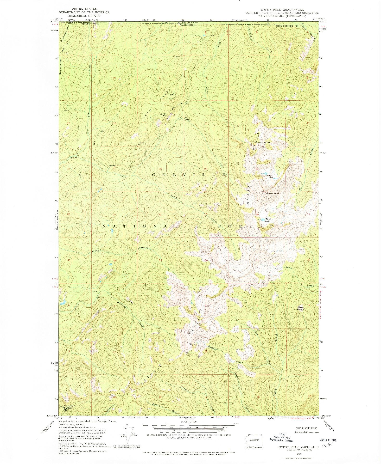 USGS 1:24000-SCALE QUADRANGLE FOR GYPSY PEAK, WA 1967