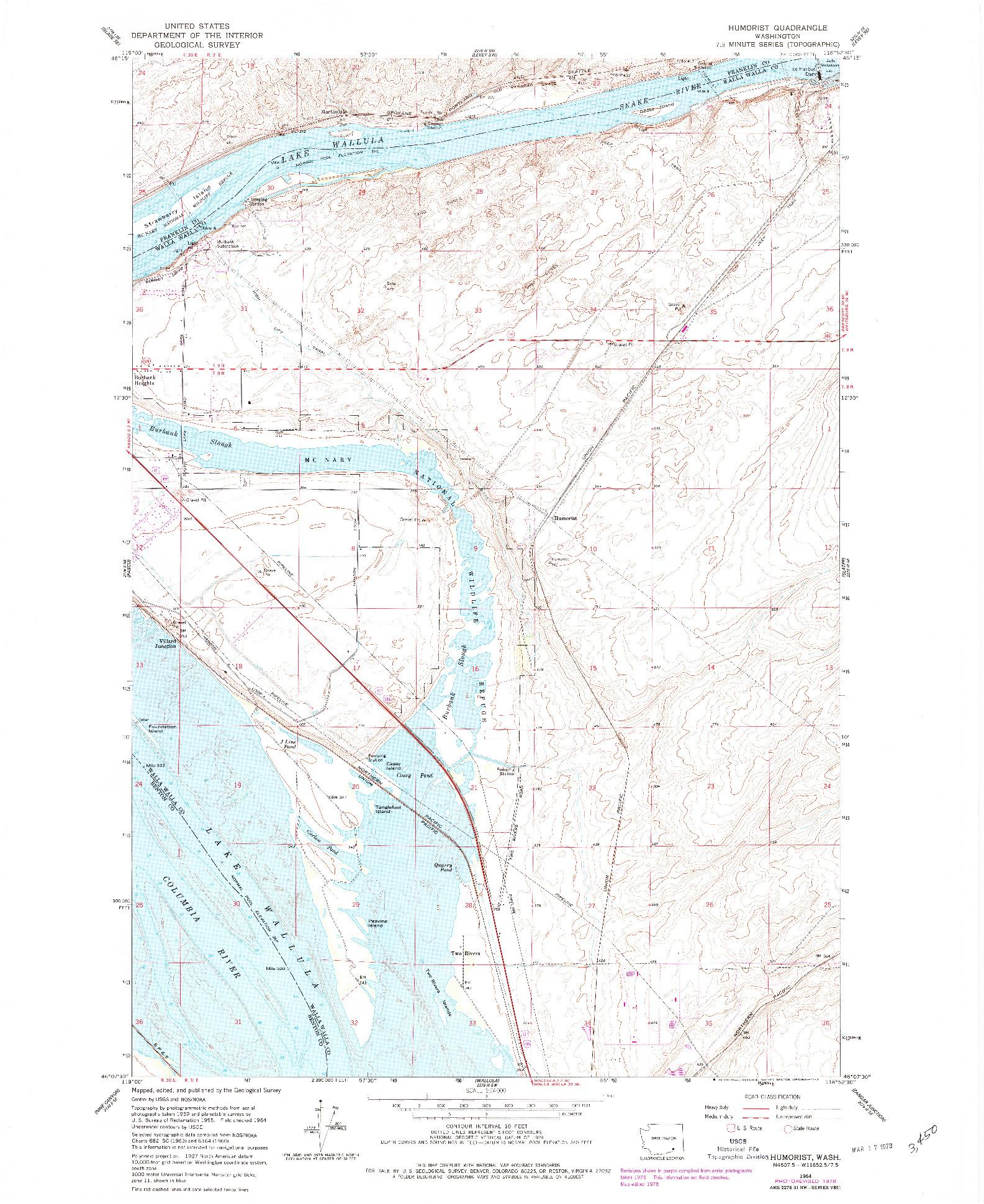 USGS 1:24000-SCALE QUADRANGLE FOR HUMORIST, WA 1964