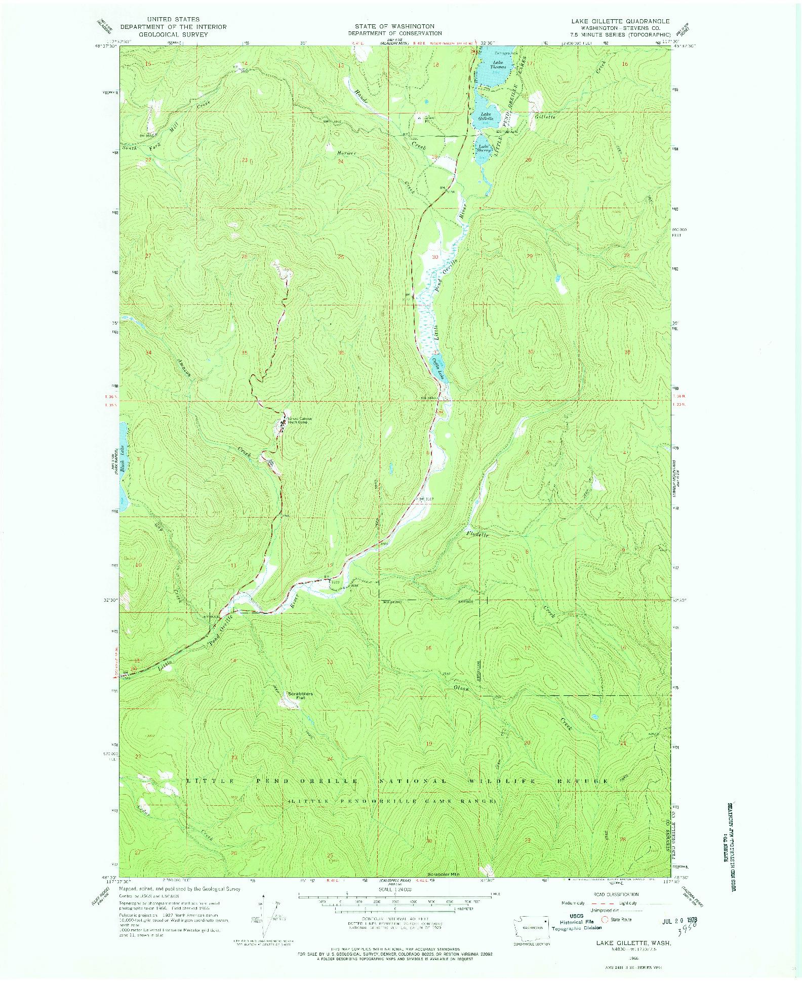 USGS 1:24000-SCALE QUADRANGLE FOR LAKE GILLETTE, WA 1966