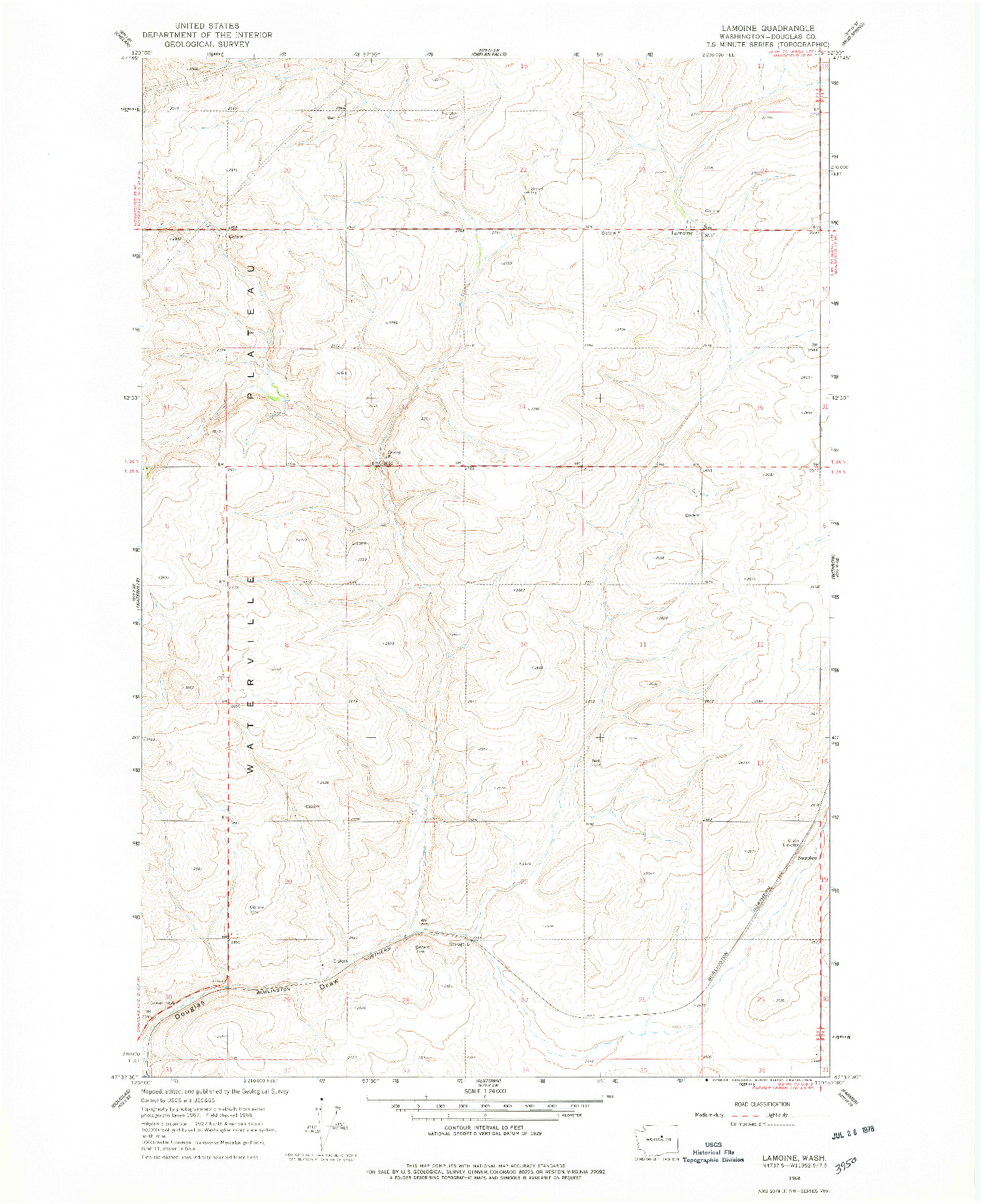 USGS 1:24000-SCALE QUADRANGLE FOR LAMOINE, WA 1968