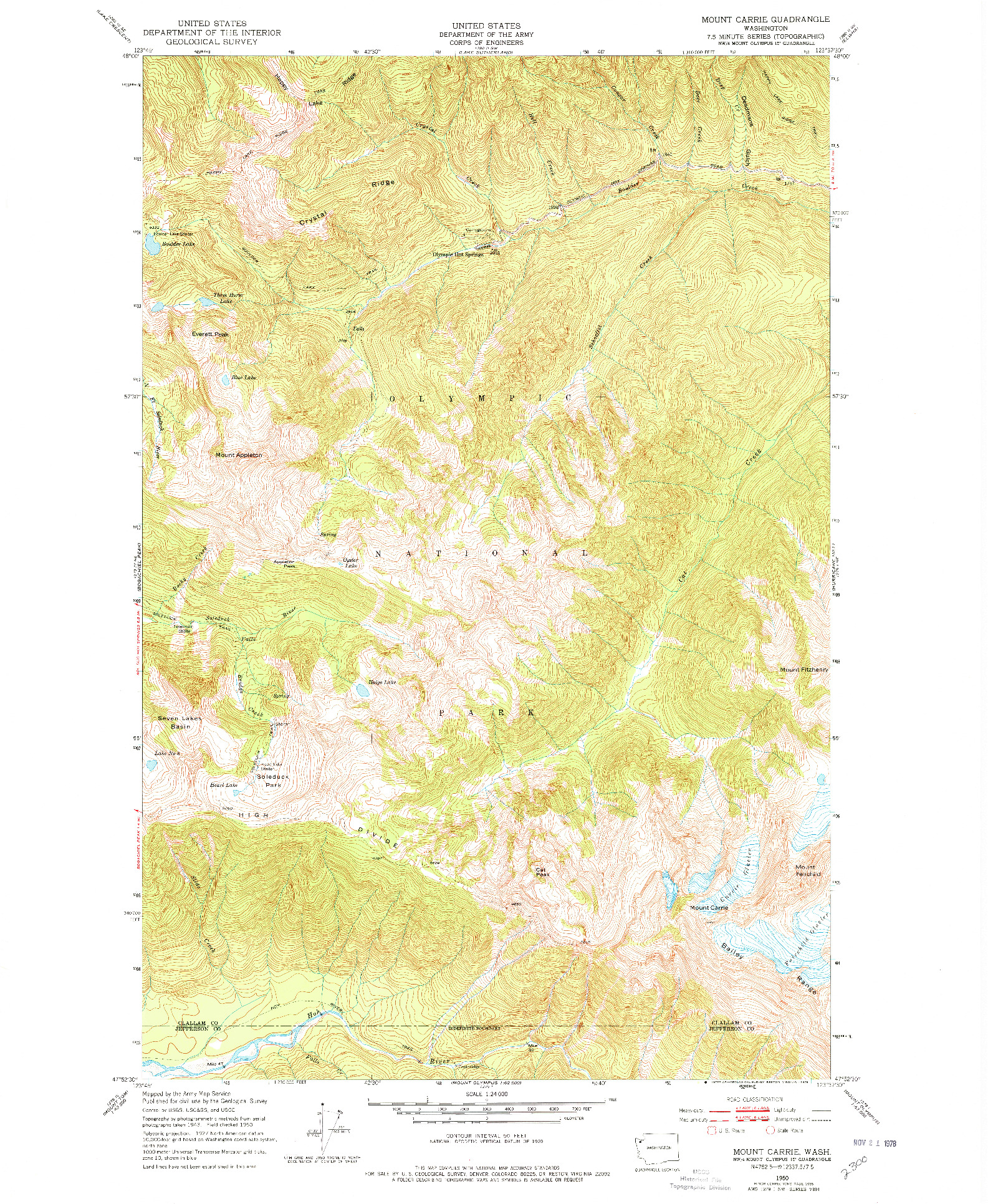 USGS 1:24000-SCALE QUADRANGLE FOR MOUNT CARRIE, WA 1950