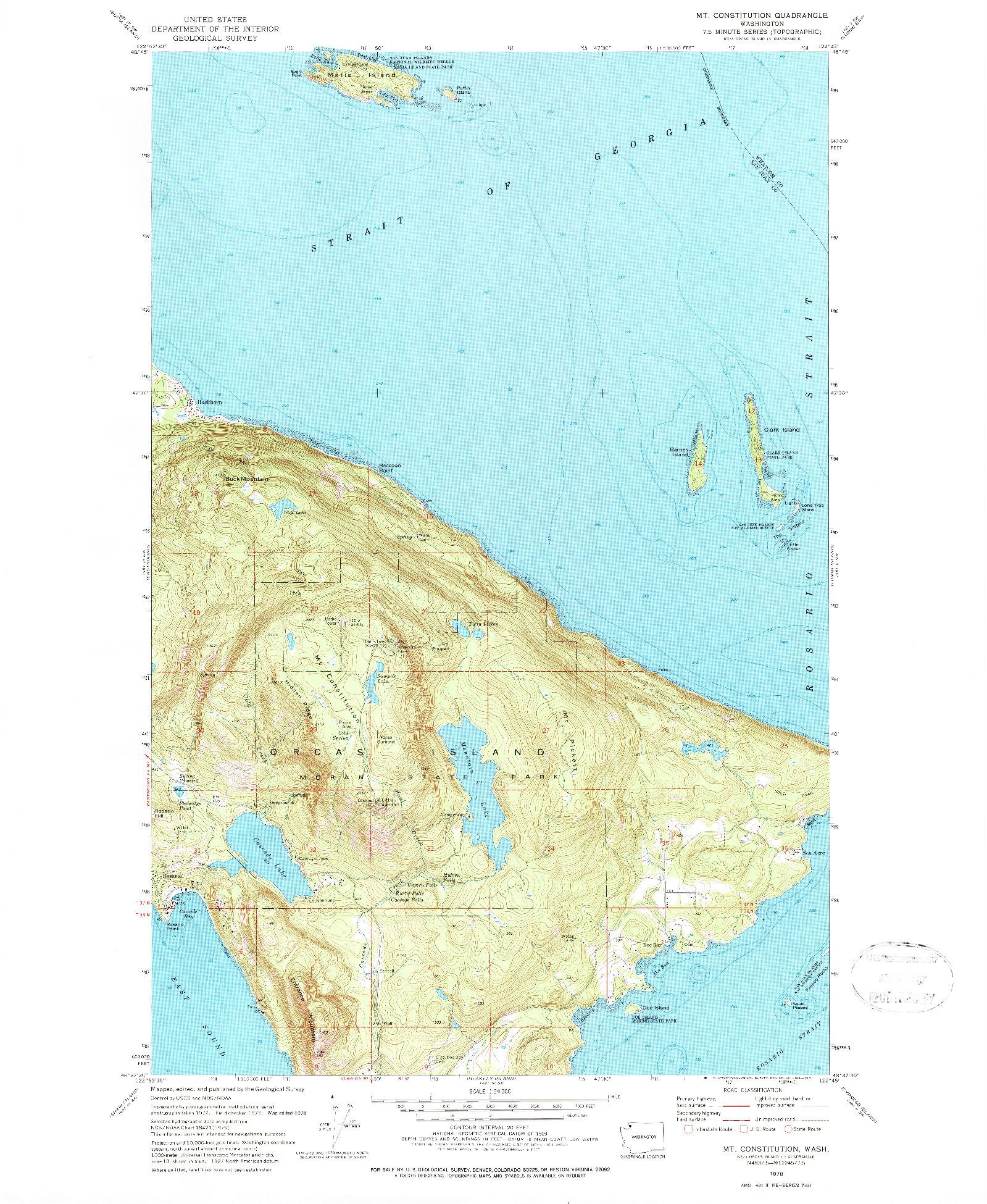 USGS 1:24000-SCALE QUADRANGLE FOR MT CONSTITUTION, WA 1978