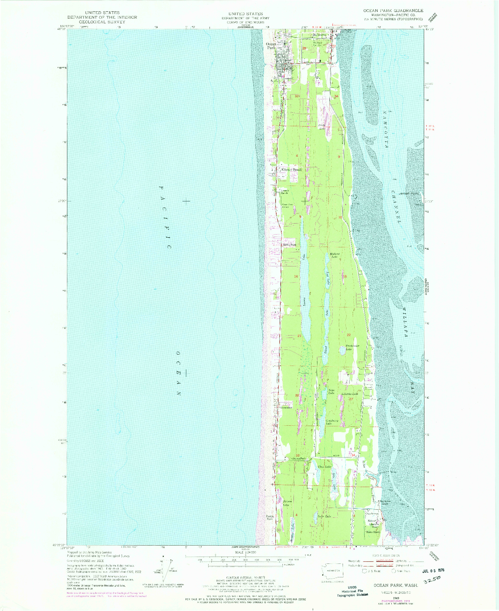 USGS 1:24000-SCALE QUADRANGLE FOR OCEAN PARK, WA 1949