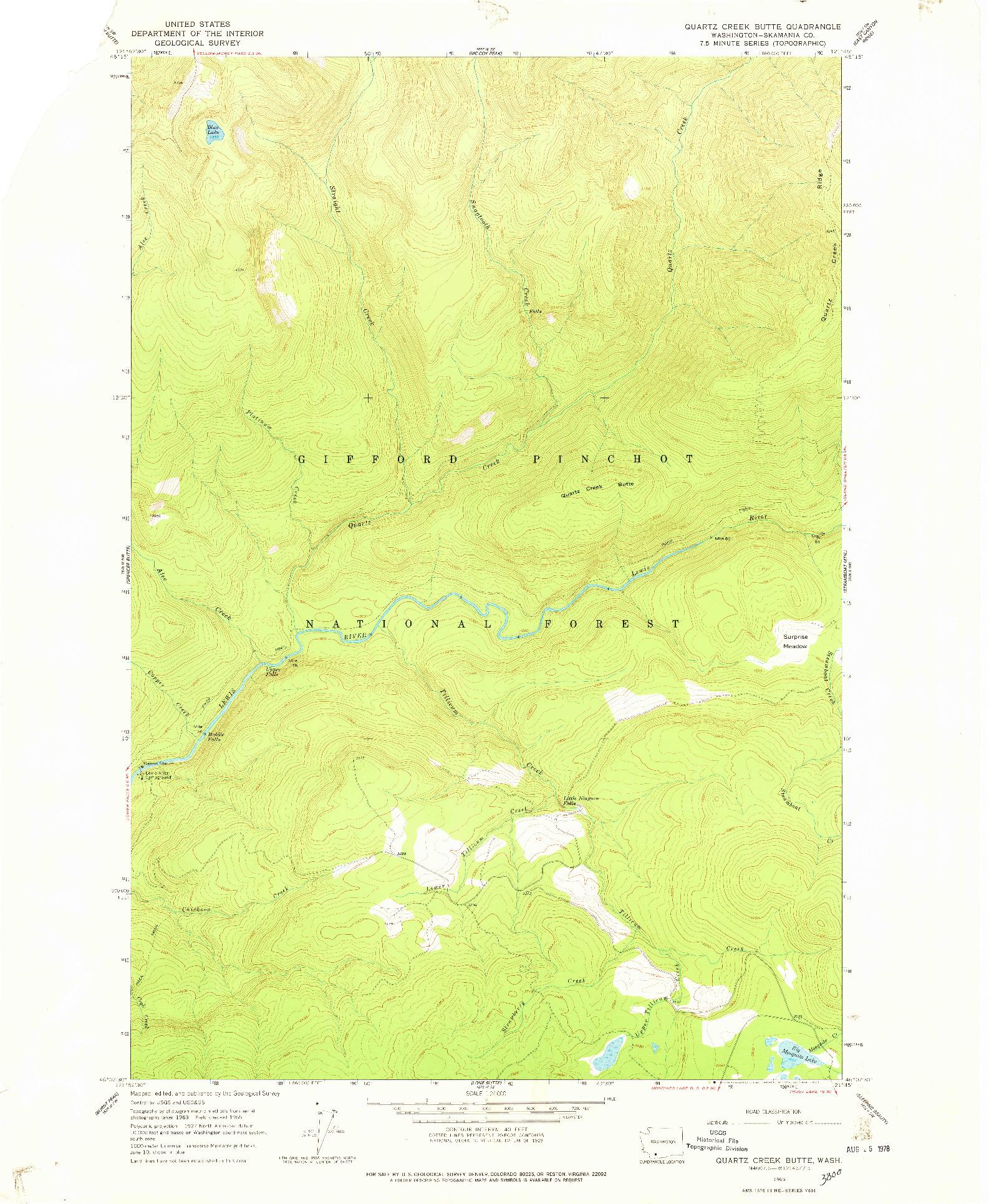 USGS 1:24000-SCALE QUADRANGLE FOR QUARTZ CREEK BUTTE, WA 1965