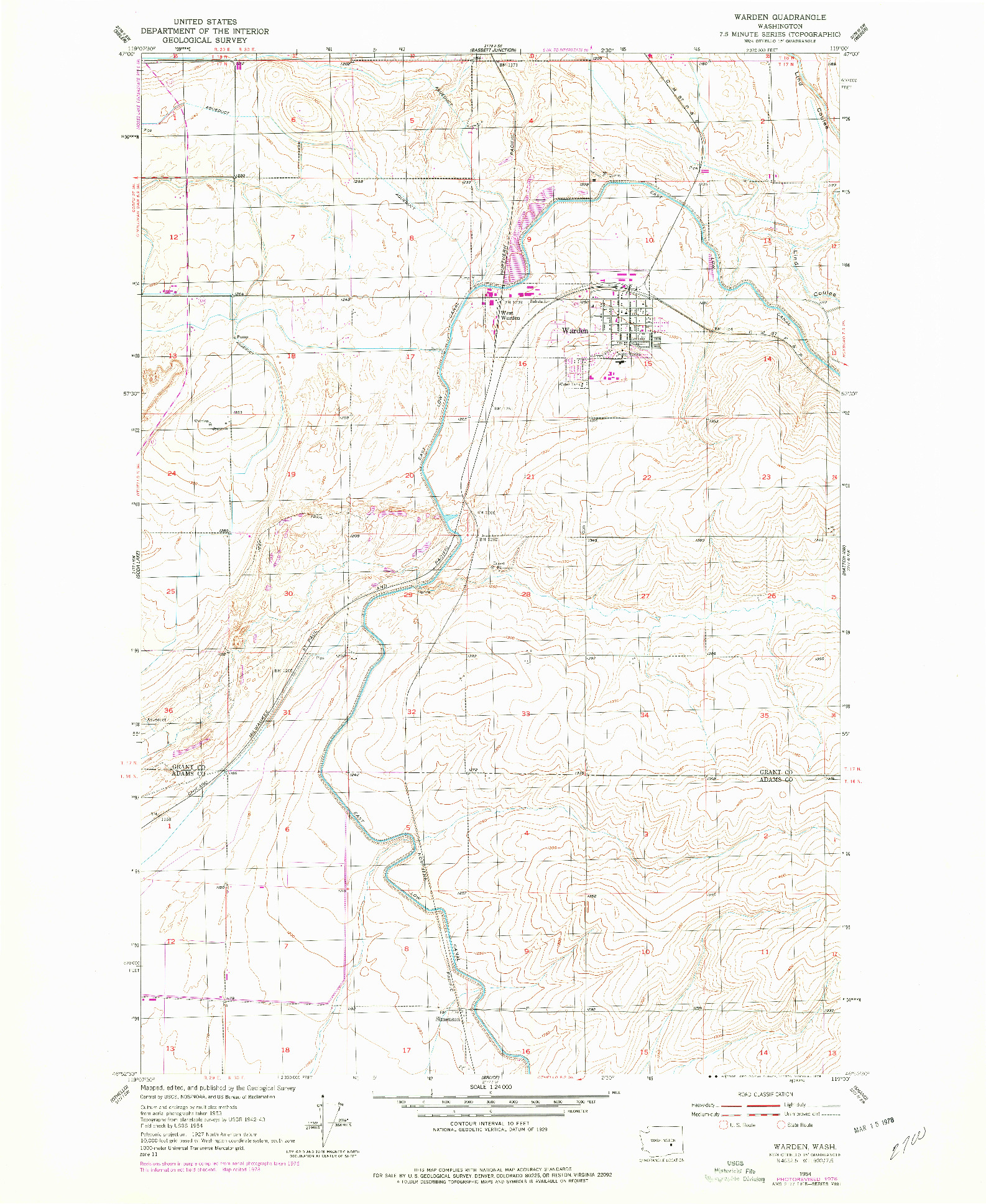USGS 1:24000-SCALE QUADRANGLE FOR WARDEN, WA 1954