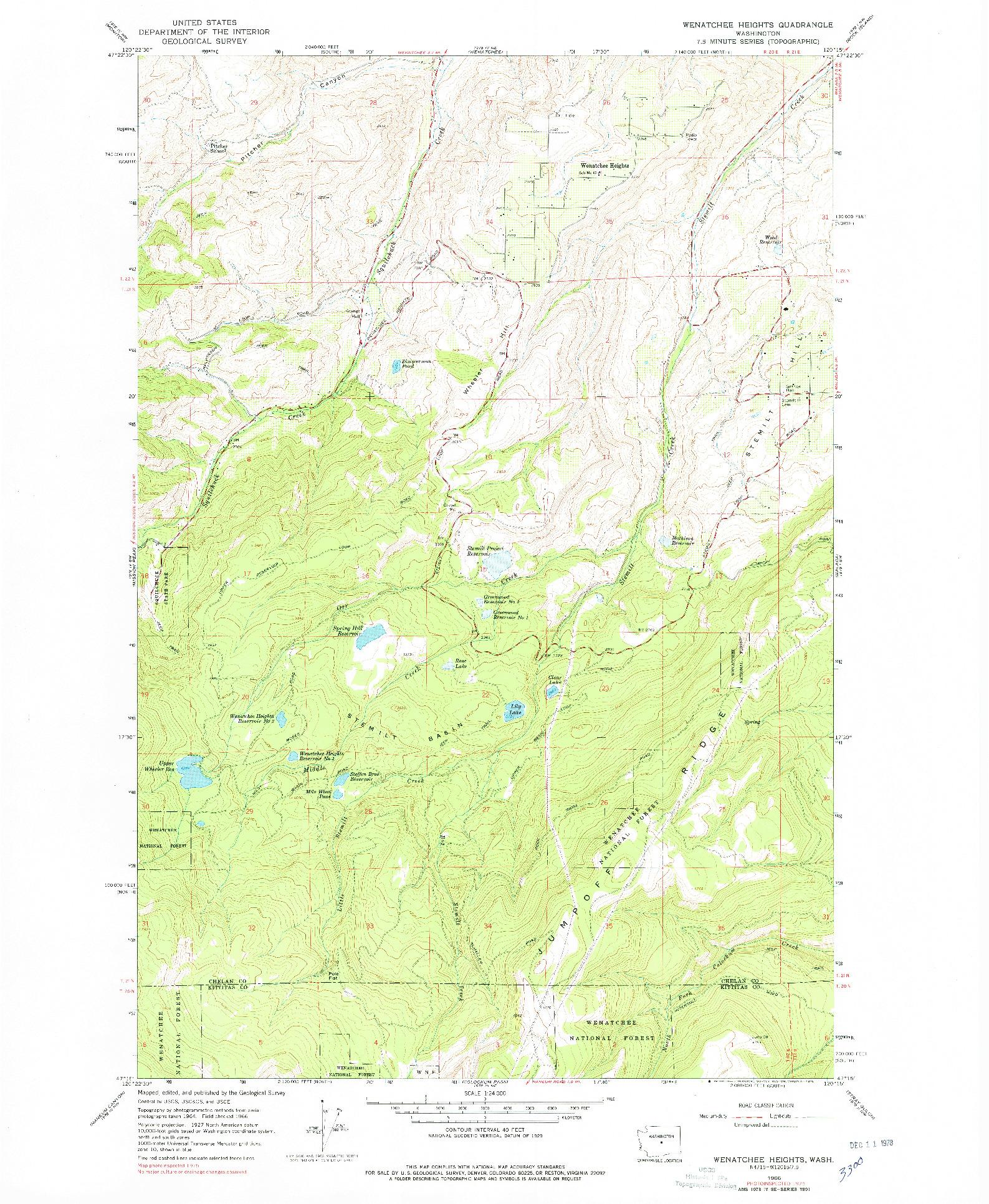 USGS 1:24000-SCALE QUADRANGLE FOR WENATCHEE HEIGHTS, WA 1966