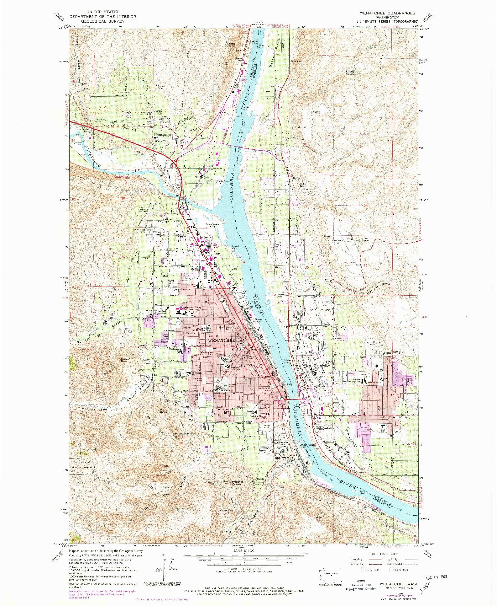 USGS 1:24000-SCALE QUADRANGLE FOR WENATCHEE, WA 1966