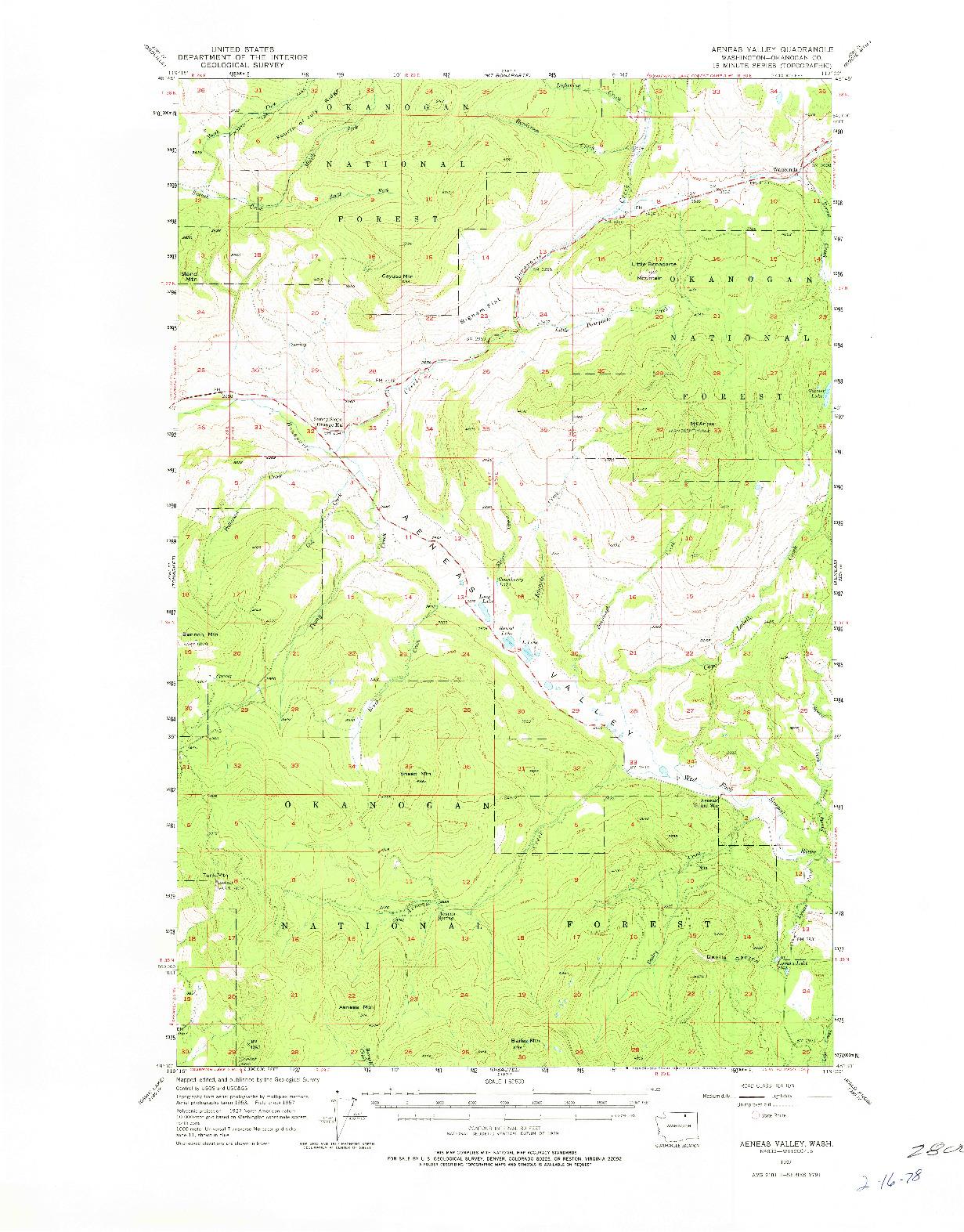 USGS 1:62500-SCALE QUADRANGLE FOR AENEAS VALLEY, WA 1957