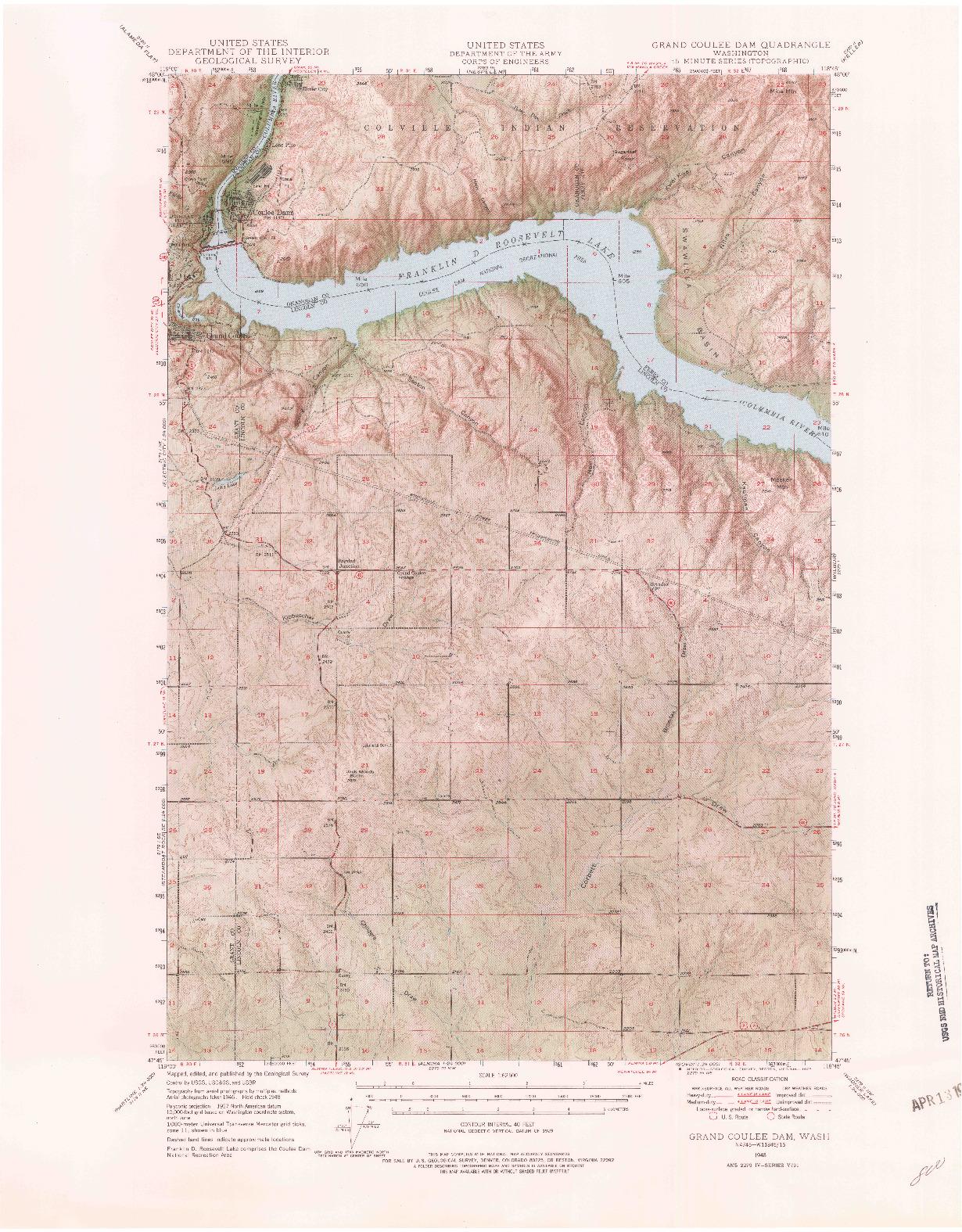 USGS 1:62500-SCALE QUADRANGLE FOR GRAND COULEE DAM, WA 1948