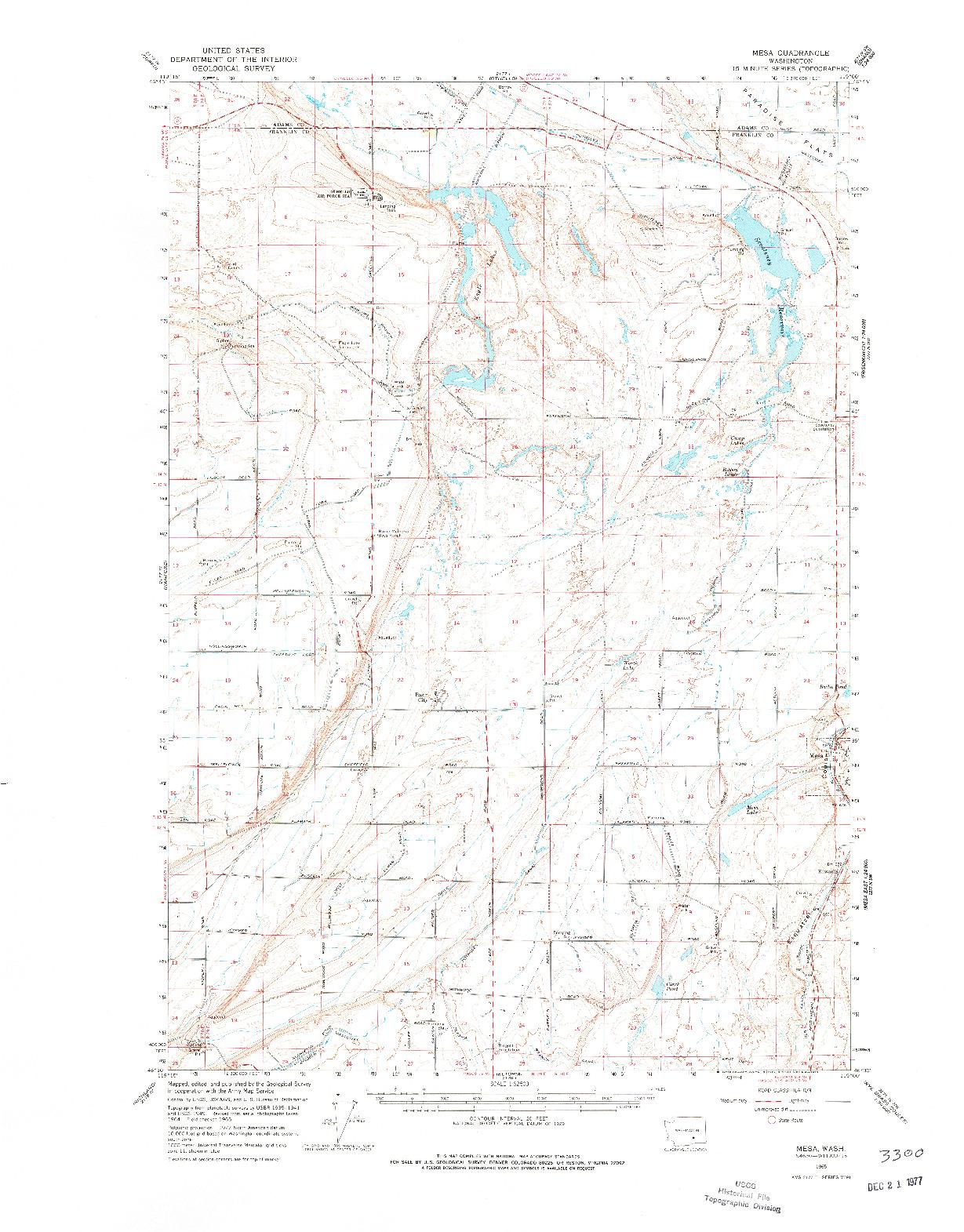 USGS 1:62500-SCALE QUADRANGLE FOR MESA, WA 1965