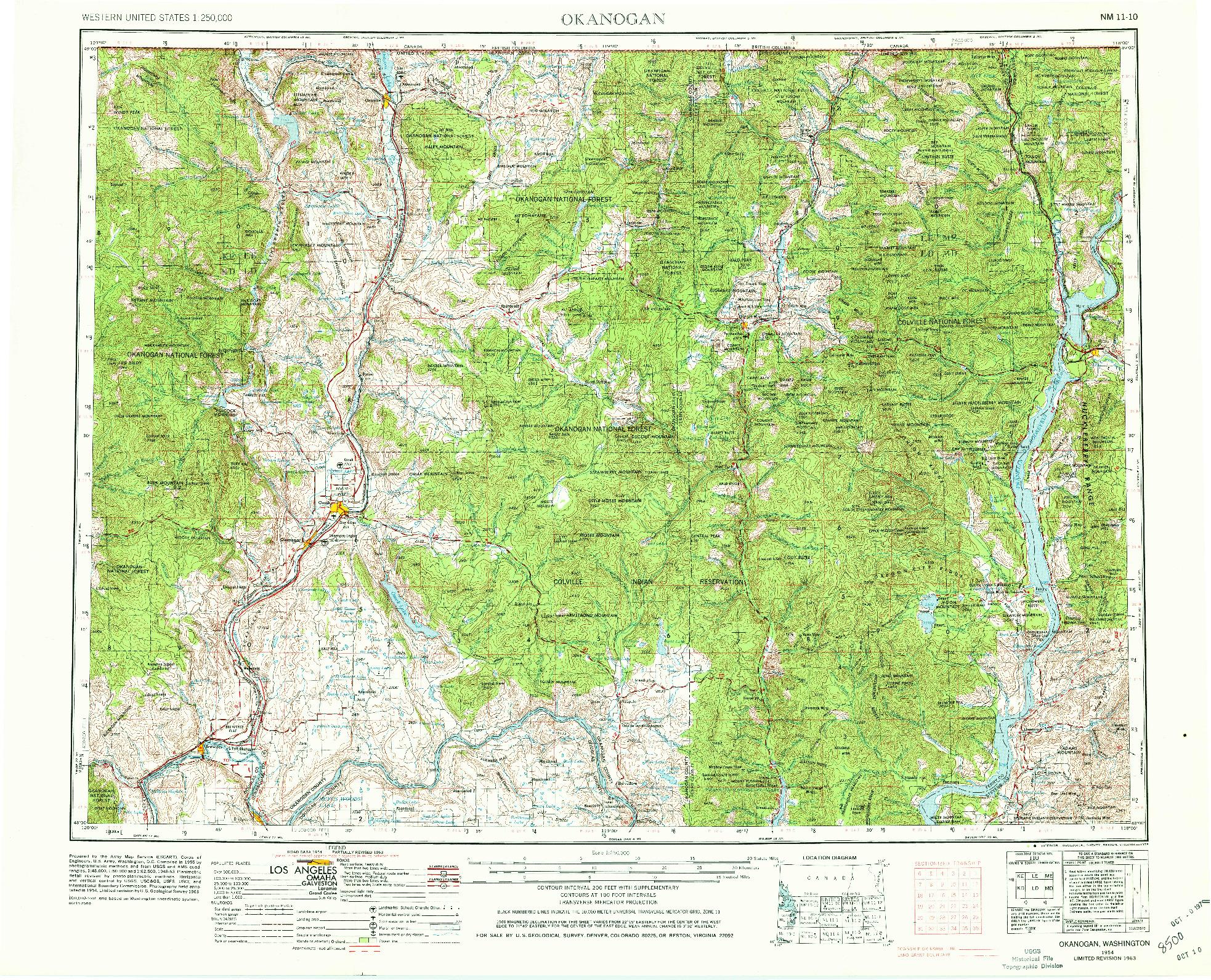 USGS 1:250000-SCALE QUADRANGLE FOR OKANOGAN, WA 1954