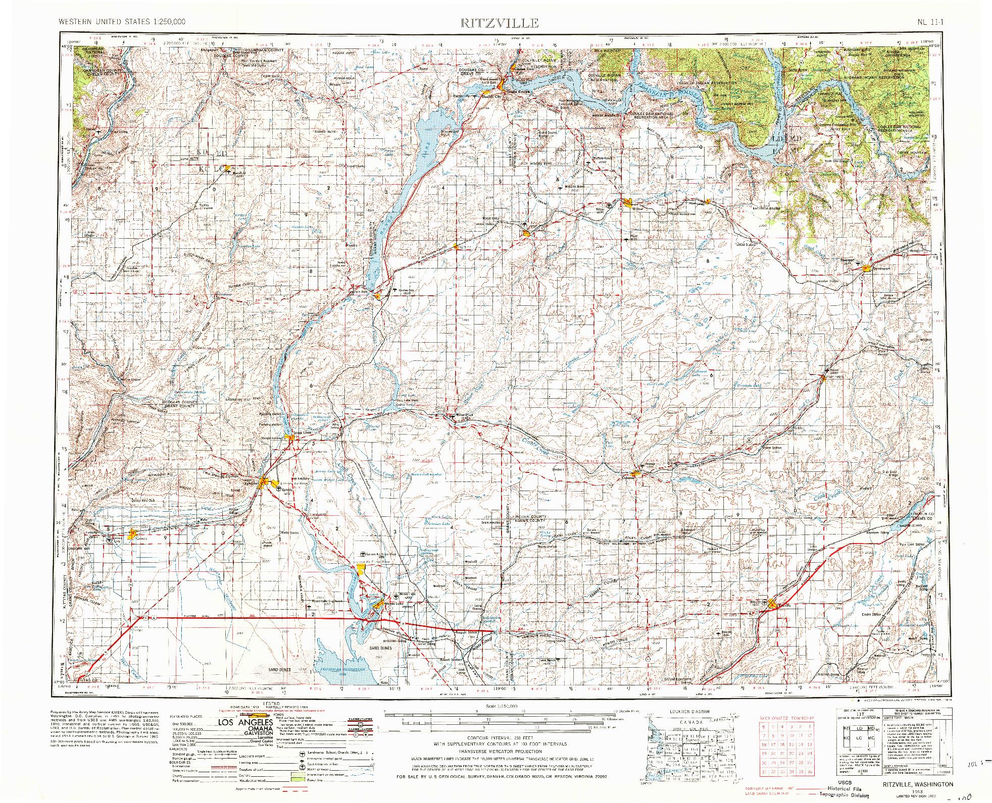 USGS 1:250000-SCALE QUADRANGLE FOR RITZVILLE, WA 1953