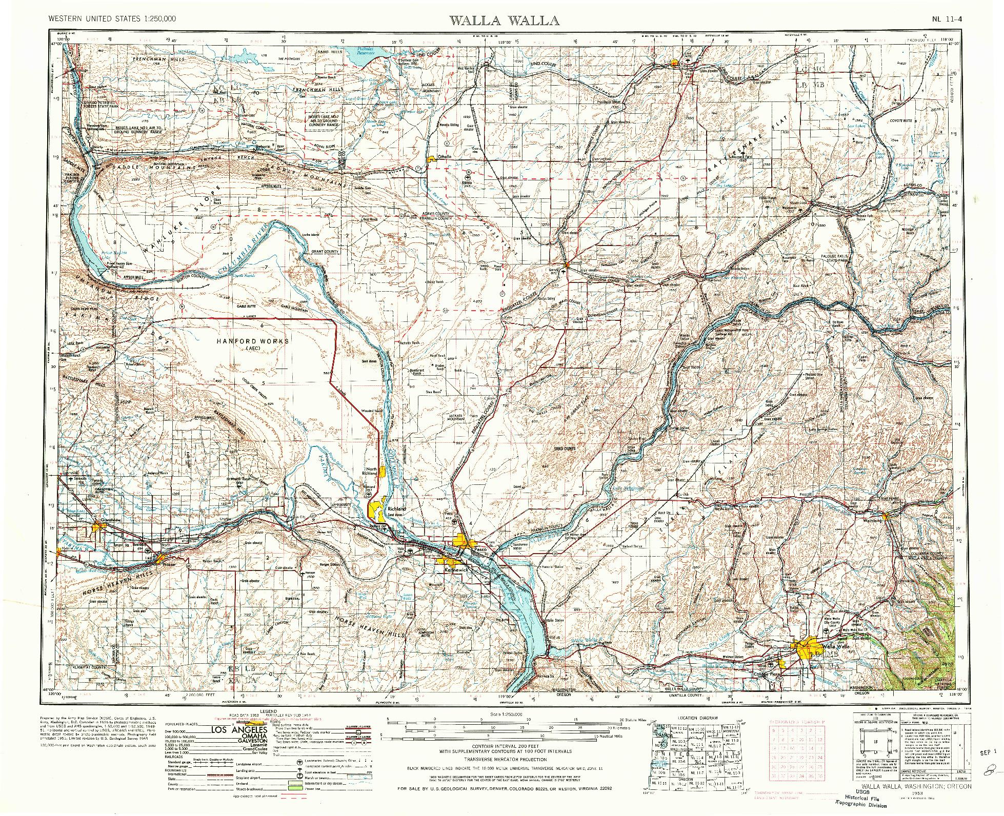 USGS 1:250000-SCALE QUADRANGLE FOR WALLA WALLA, WA 1953