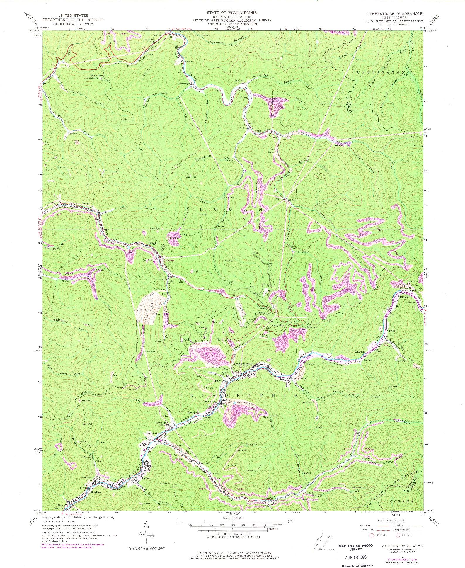 USGS 1:24000-SCALE QUADRANGLE FOR AMHERSTDALE, WV 1963