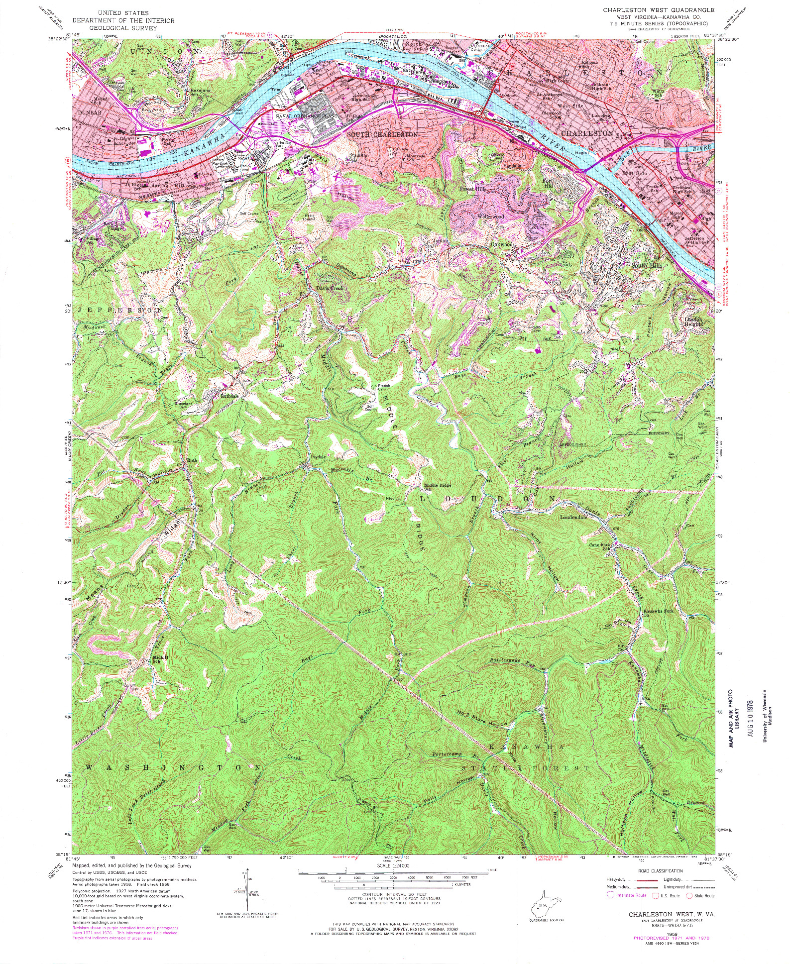 USGS 1:24000-SCALE QUADRANGLE FOR CHARLESTON WEST, WV 1958