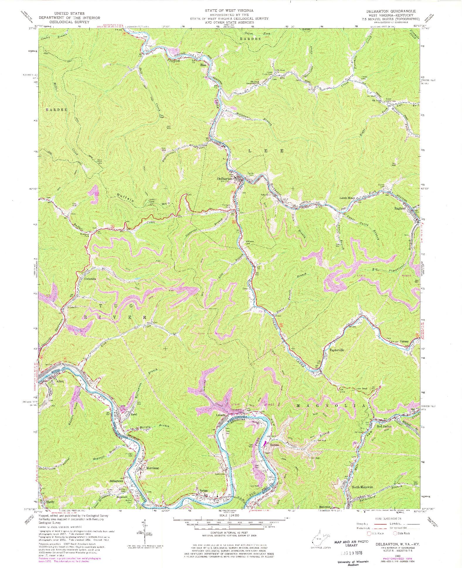 USGS 1:24000-SCALE QUADRANGLE FOR DELBARTON, WV 1963