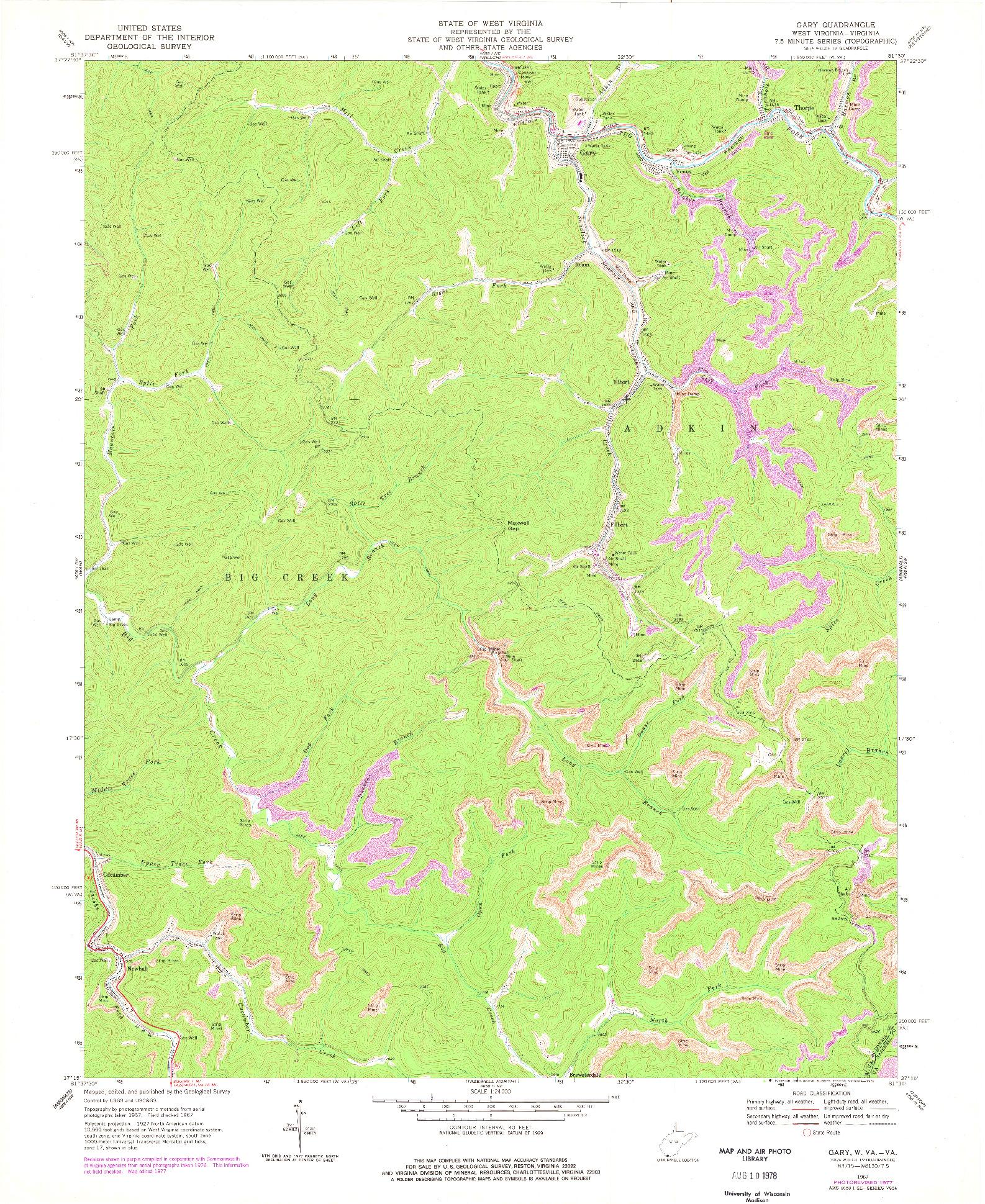 USGS 1:24000-SCALE QUADRANGLE FOR GARY, WV 1967