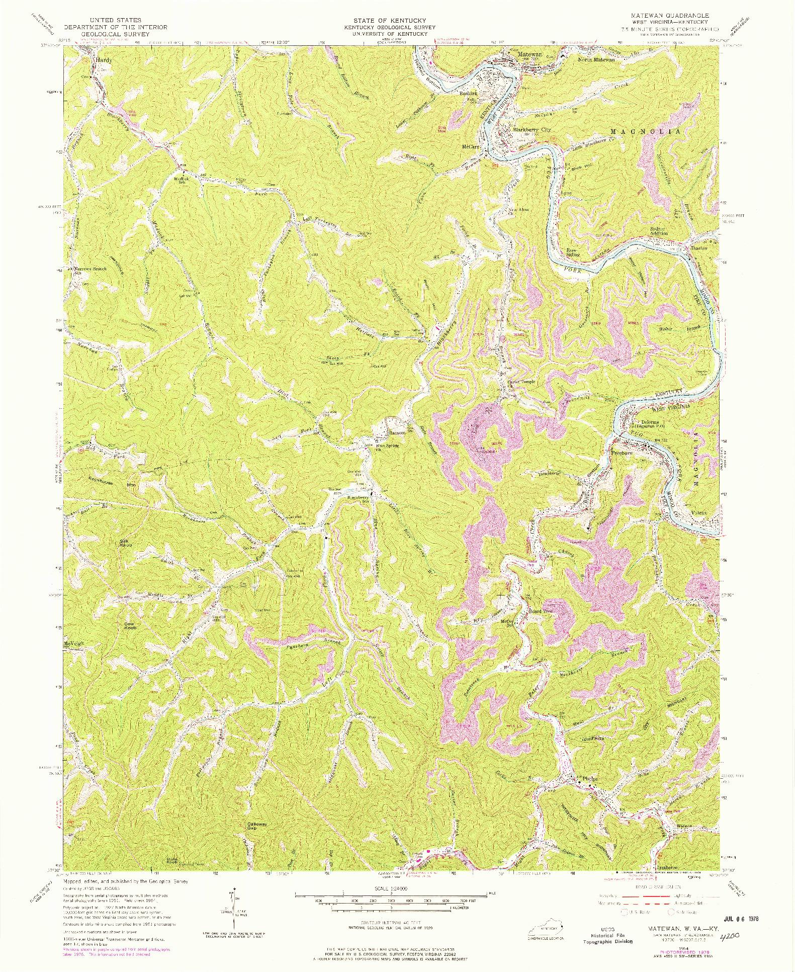 USGS 1:24000-SCALE QUADRANGLE FOR MATEWAN, WV 1954