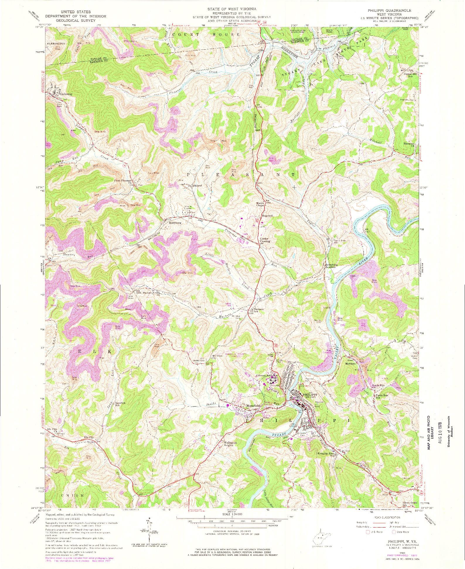 USGS 1:24000-SCALE QUADRANGLE FOR PHILIPPI, WV 1960